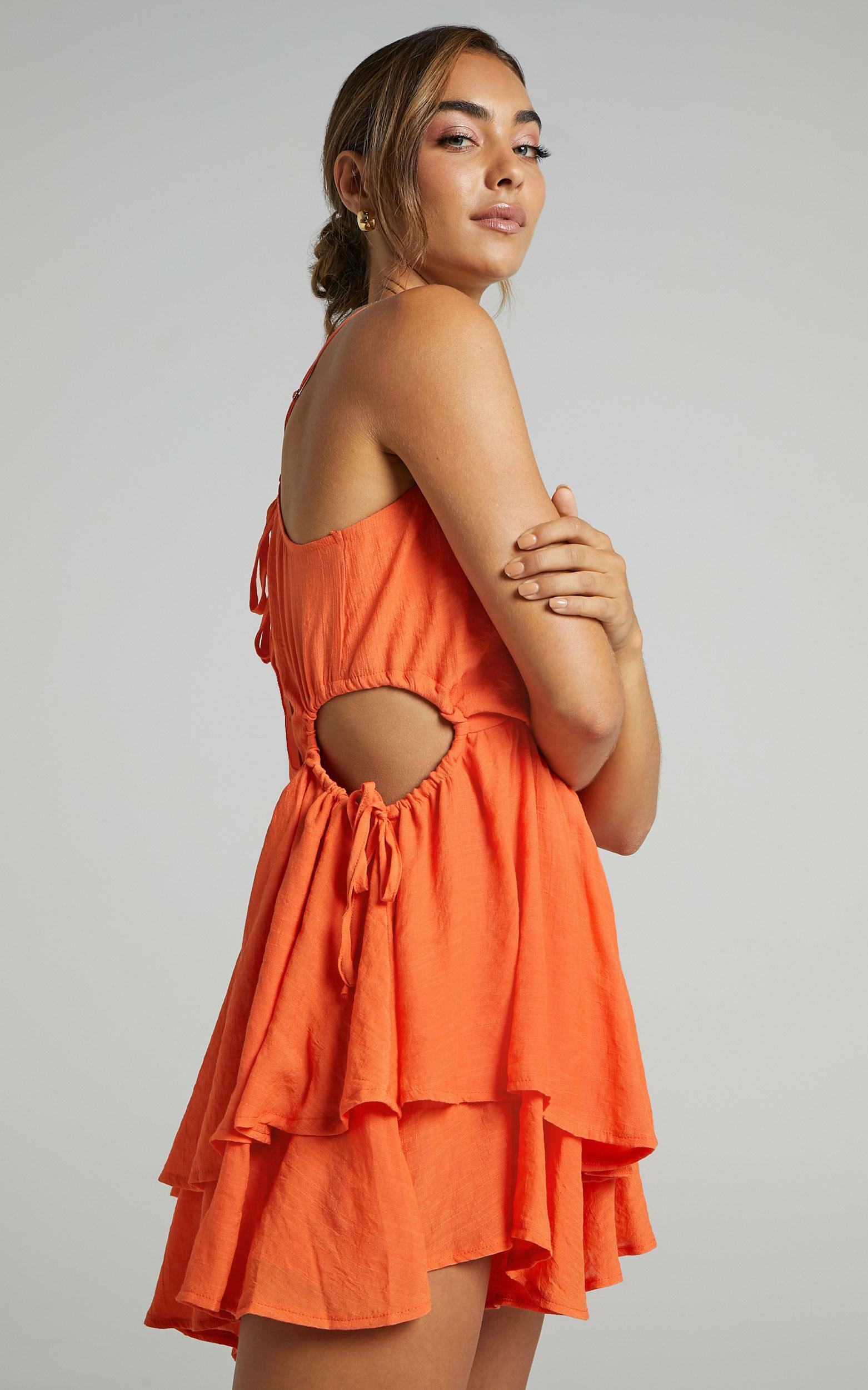 Theo Playsuit In Orange - 6 (XS), Orange, hi-res image number null