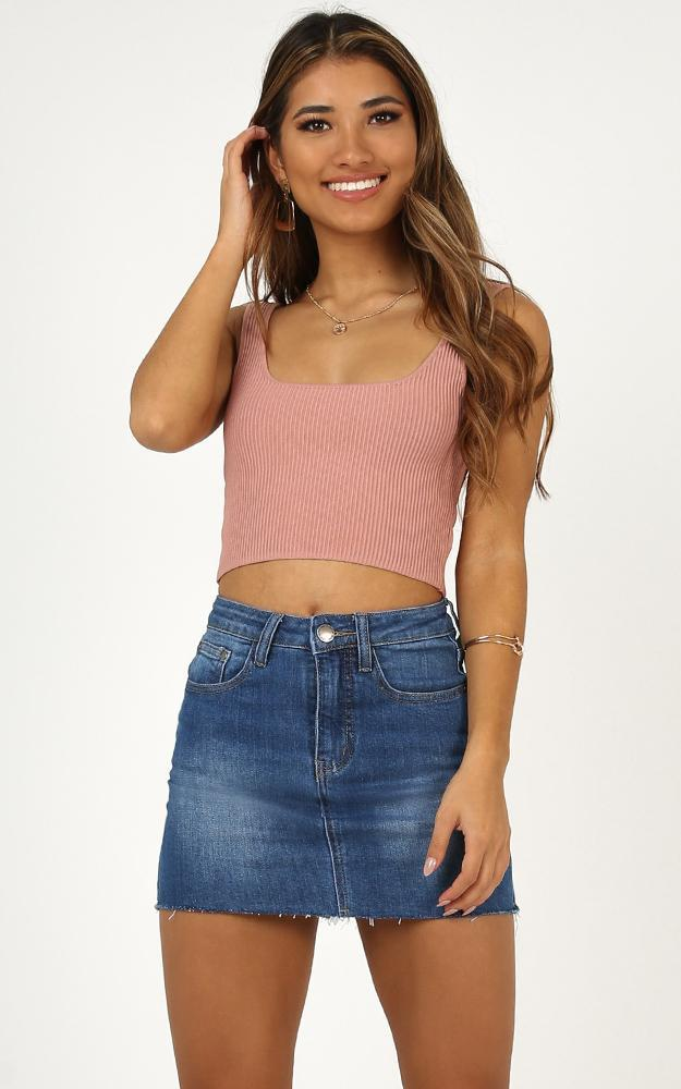 Lost In Space denim skirt in mid wash - 14 (XL), Blue, hi-res image number null