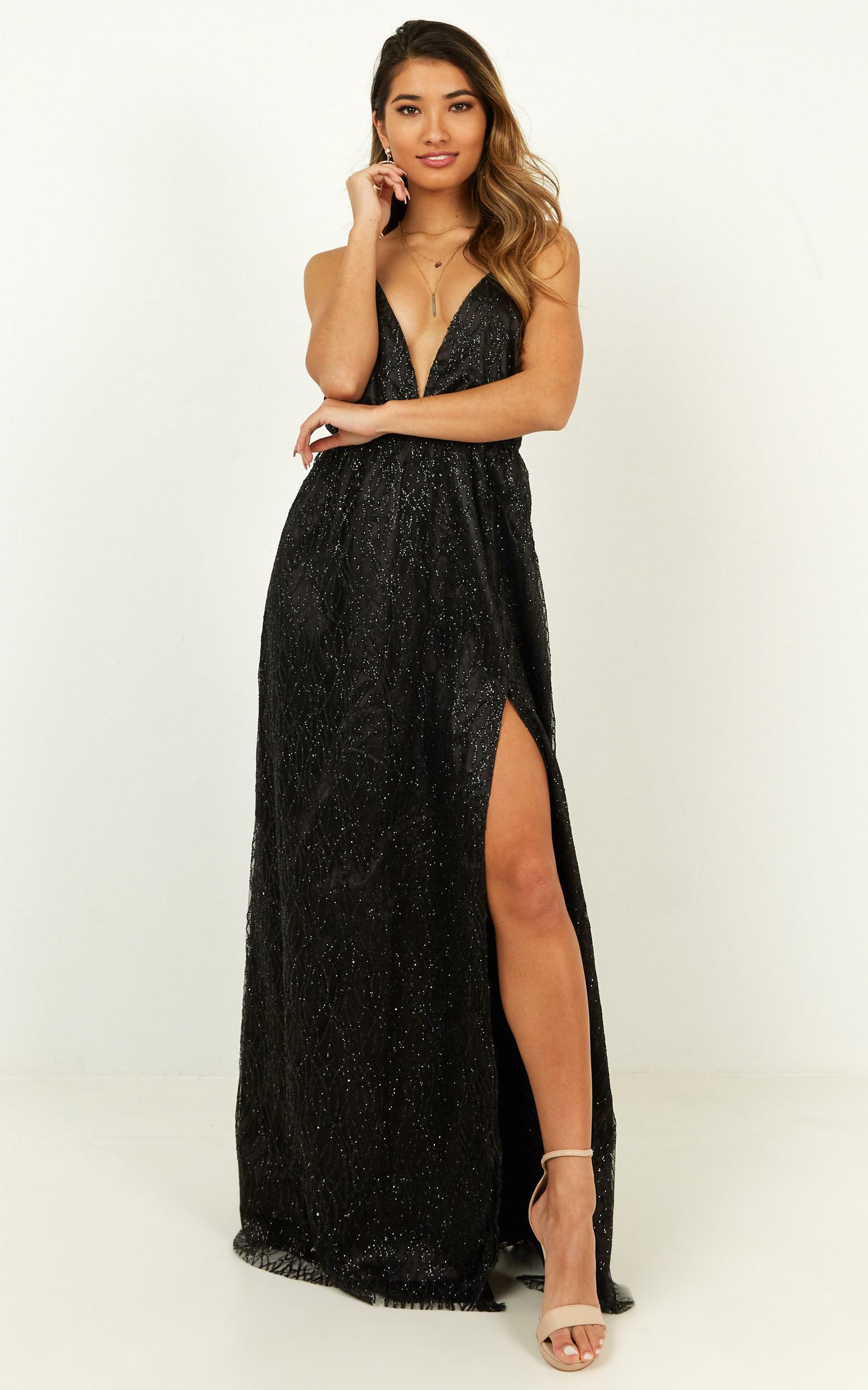 Pixi Love Maxi Dress in black glitter - 14 (XL), Black, hi-res image number null