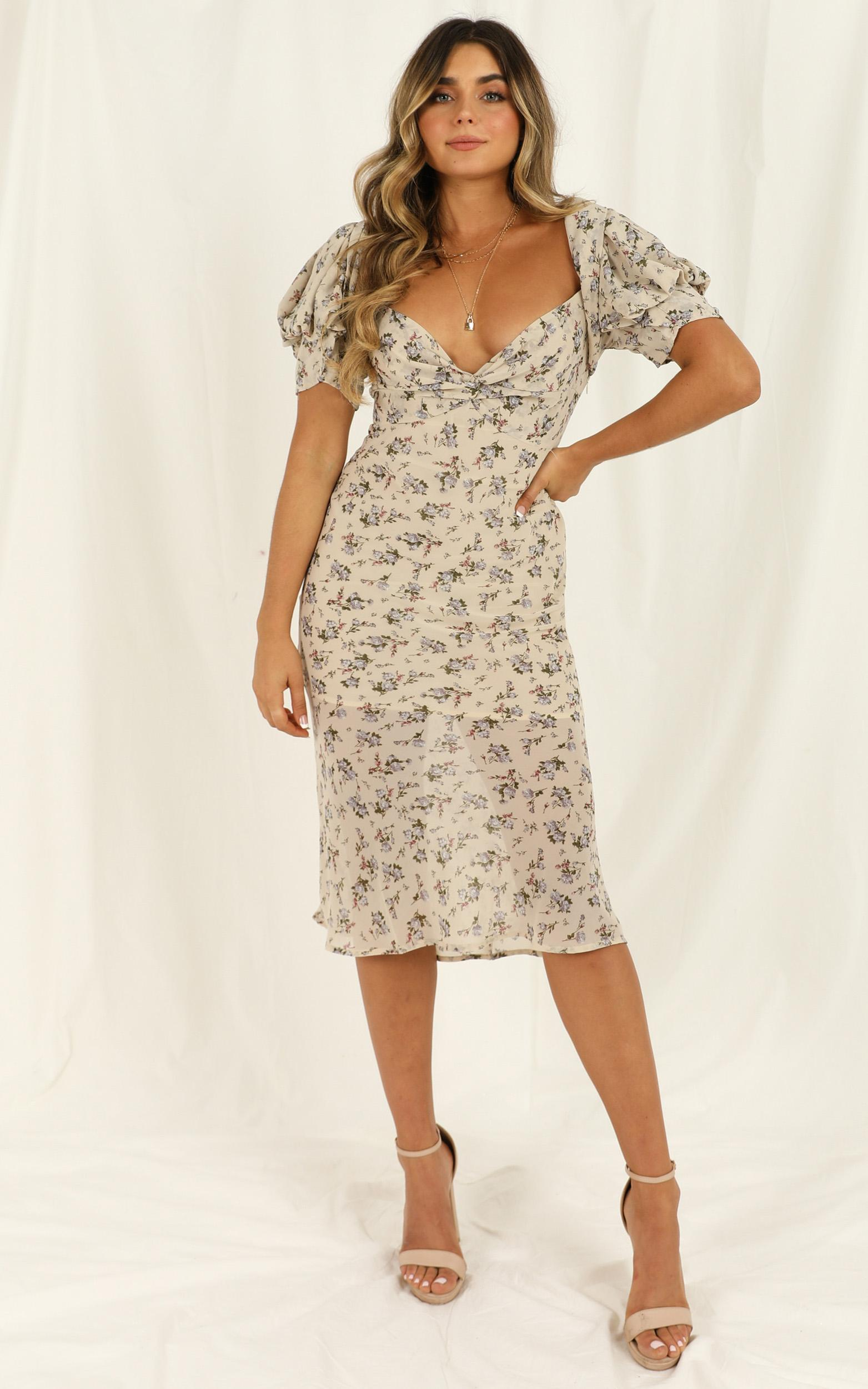 Hold Her Close dress in cream floral - 12 (L), Cream, hi-res image number null