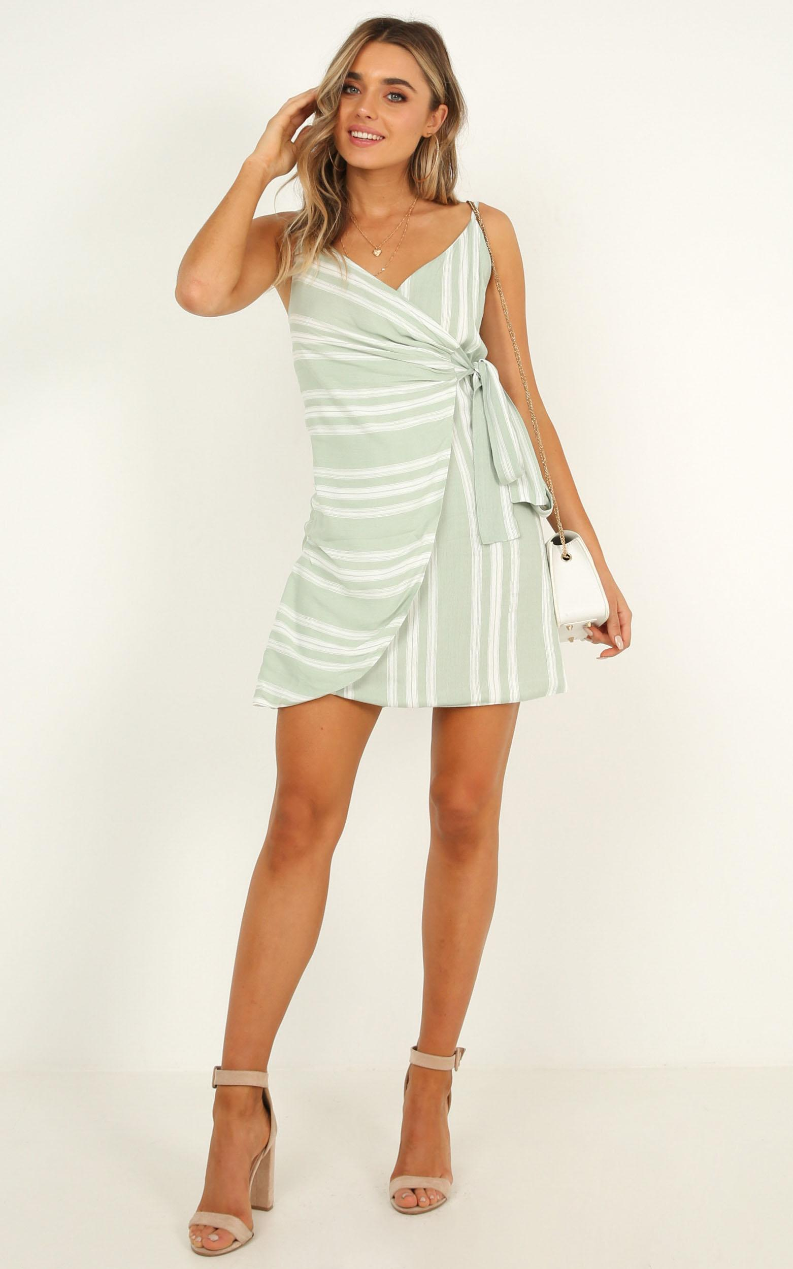 Letting Down Easy Dress in sage stripe, Sage, hi-res image number null