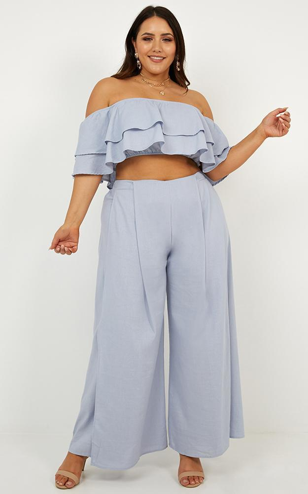 Here With me Two Piece Set in baby blue linen look - 18 (XXXL), Blue, hi-res image number null