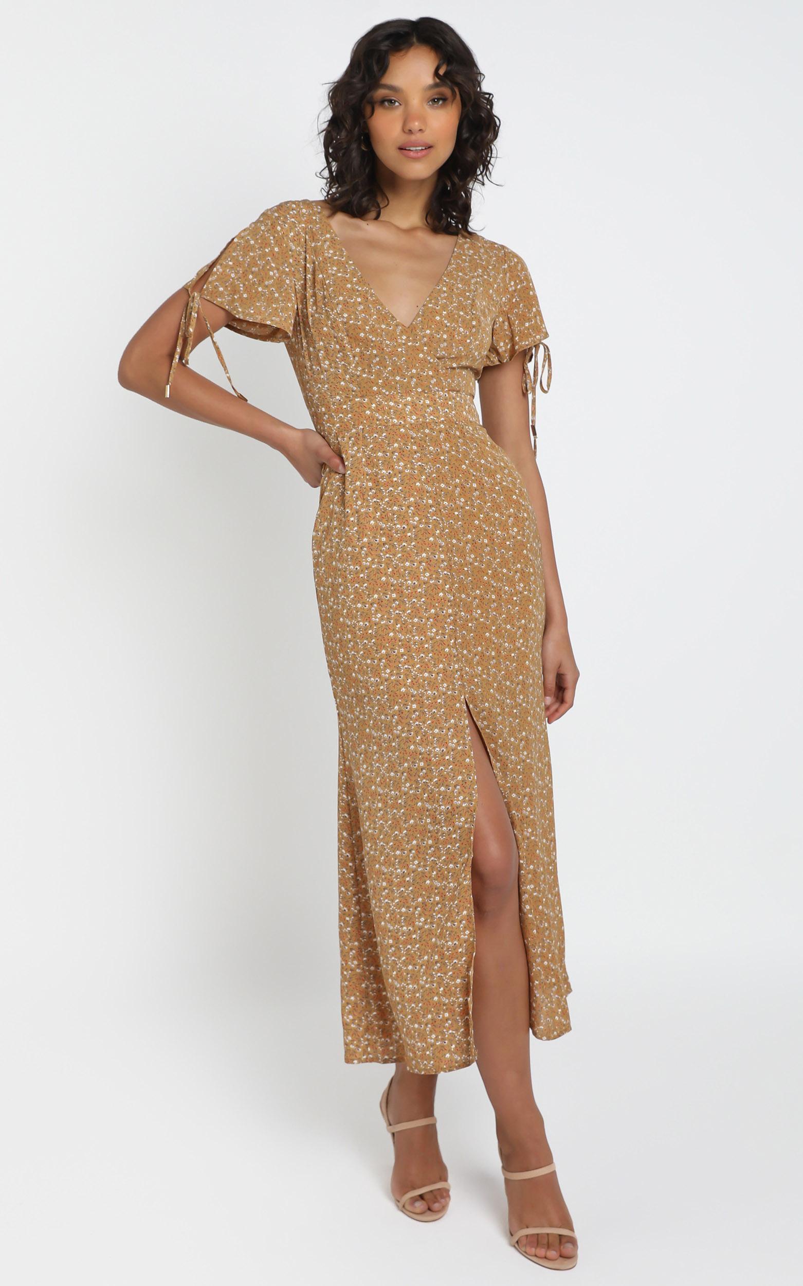 Amara Midi Dress in Mustard Floral - 12 (L), Mustard, hi-res image number null