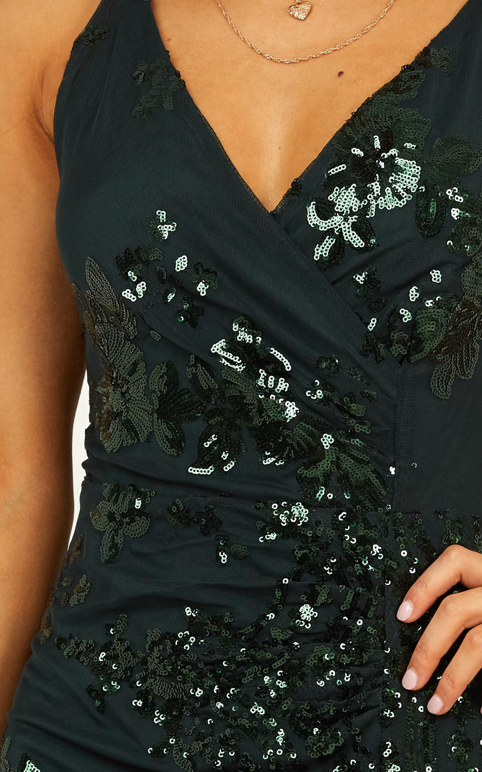 Out Till Dawn Maxi dress in emerald sequin - 6 (XS), Green, hi-res image number null