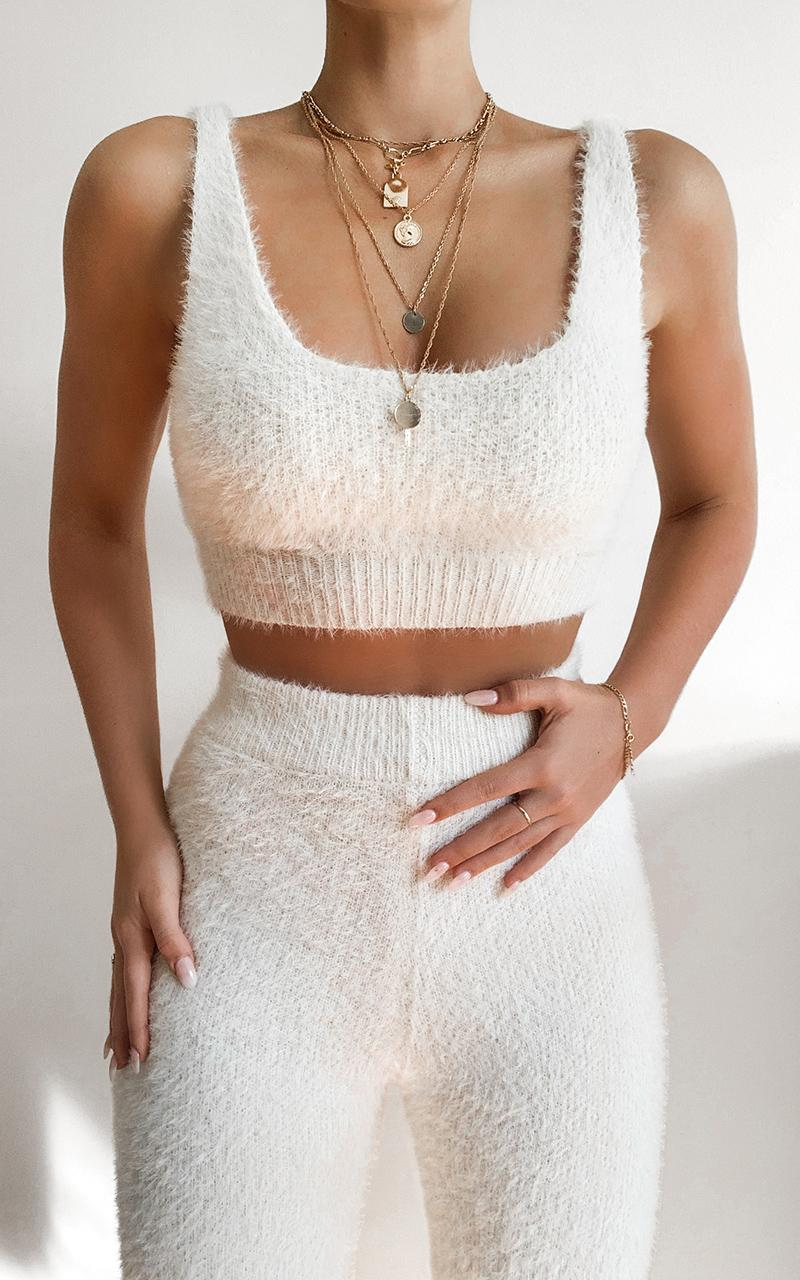 Athena Fluffy Knit Two Piece Set in Ivory - S, White, hi-res image number null