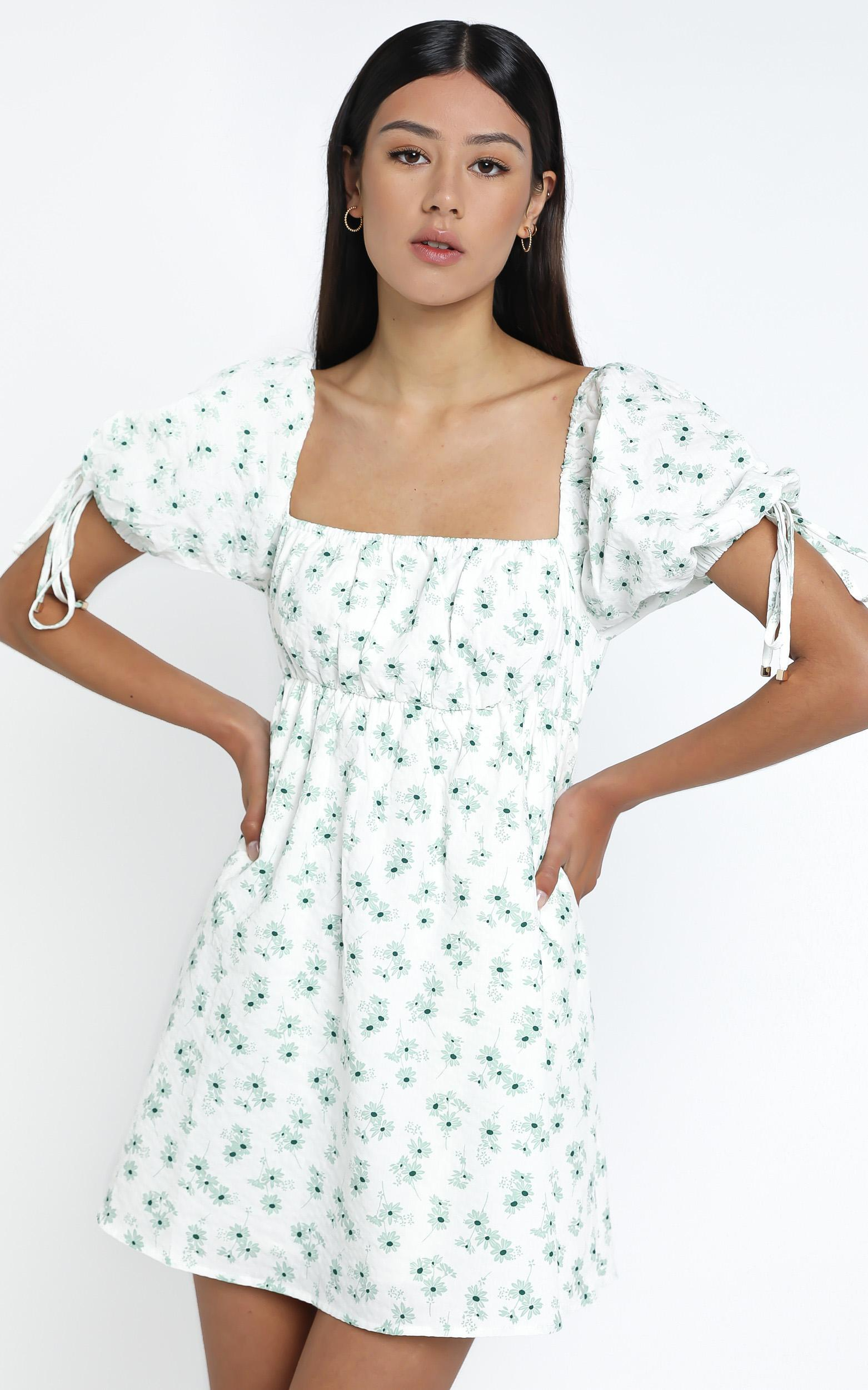 Peppi Dress in Sage Floral - 14 (XL), Sage, hi-res image number null