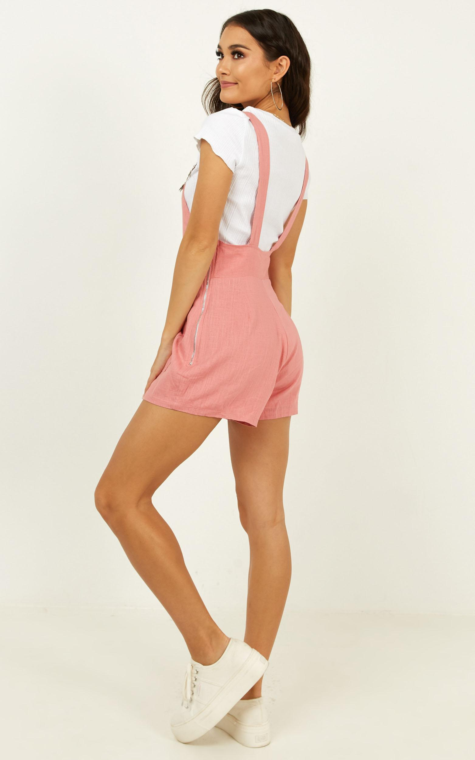 Sweet Miss Pinafore playsuit in pink - 18 (XXXL), Pink, hi-res image number null