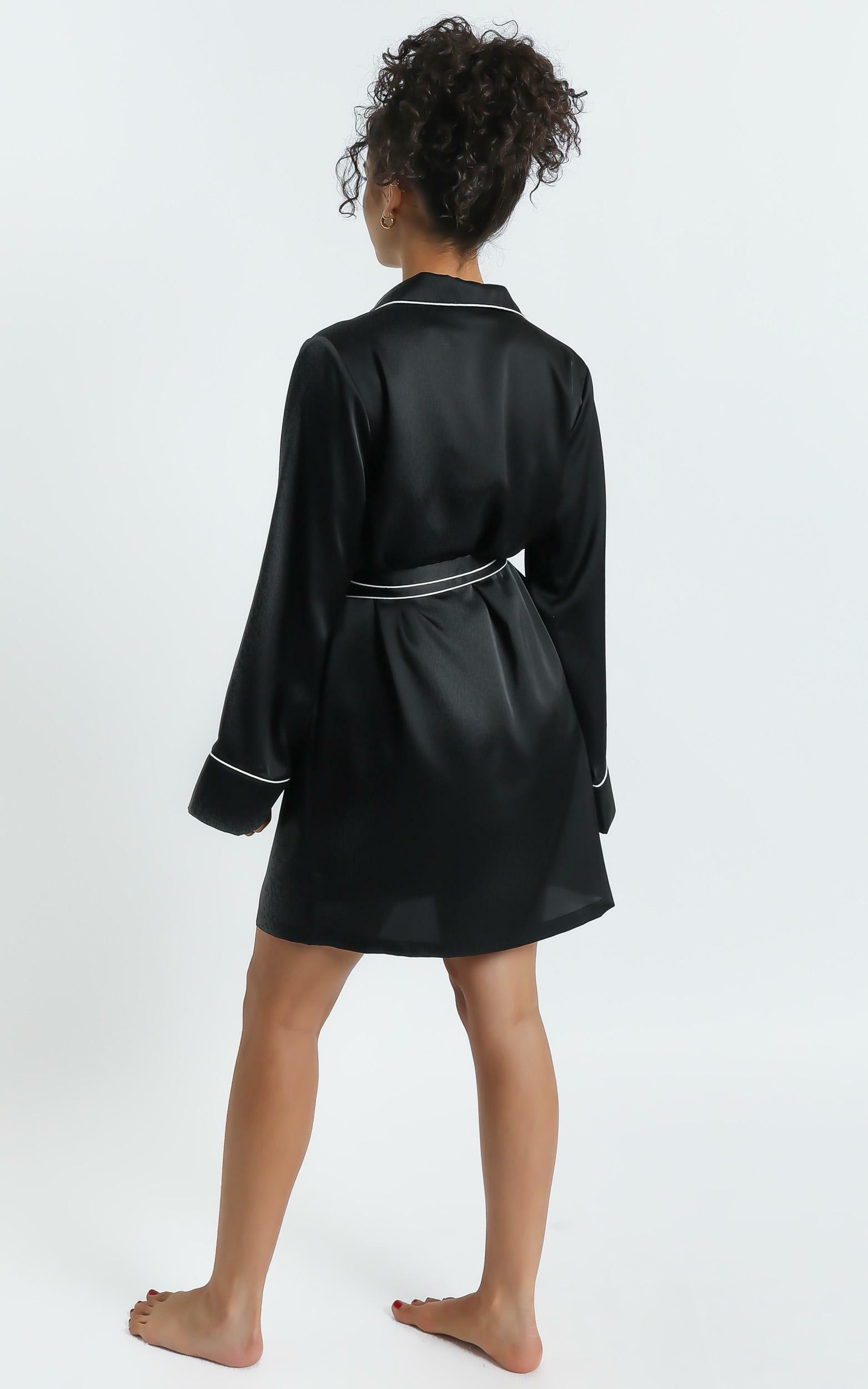 Nap Time Robe in Black Satin - 4 (XXS), BLK1, hi-res image number null