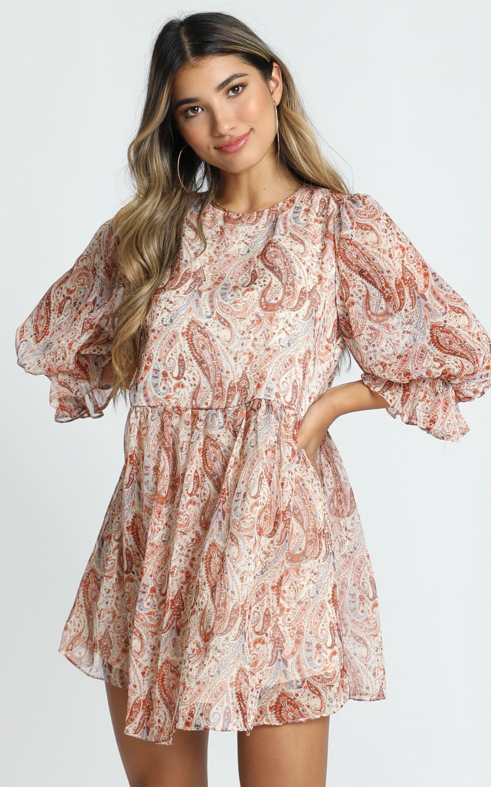 Oh My Days Mini Dress in rust paisley - 12 (L), Rust, hi-res image number null