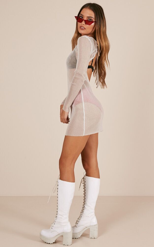 Come Back For Me dress in silver mesh - 4 (XXS), Silver, hi-res image number null