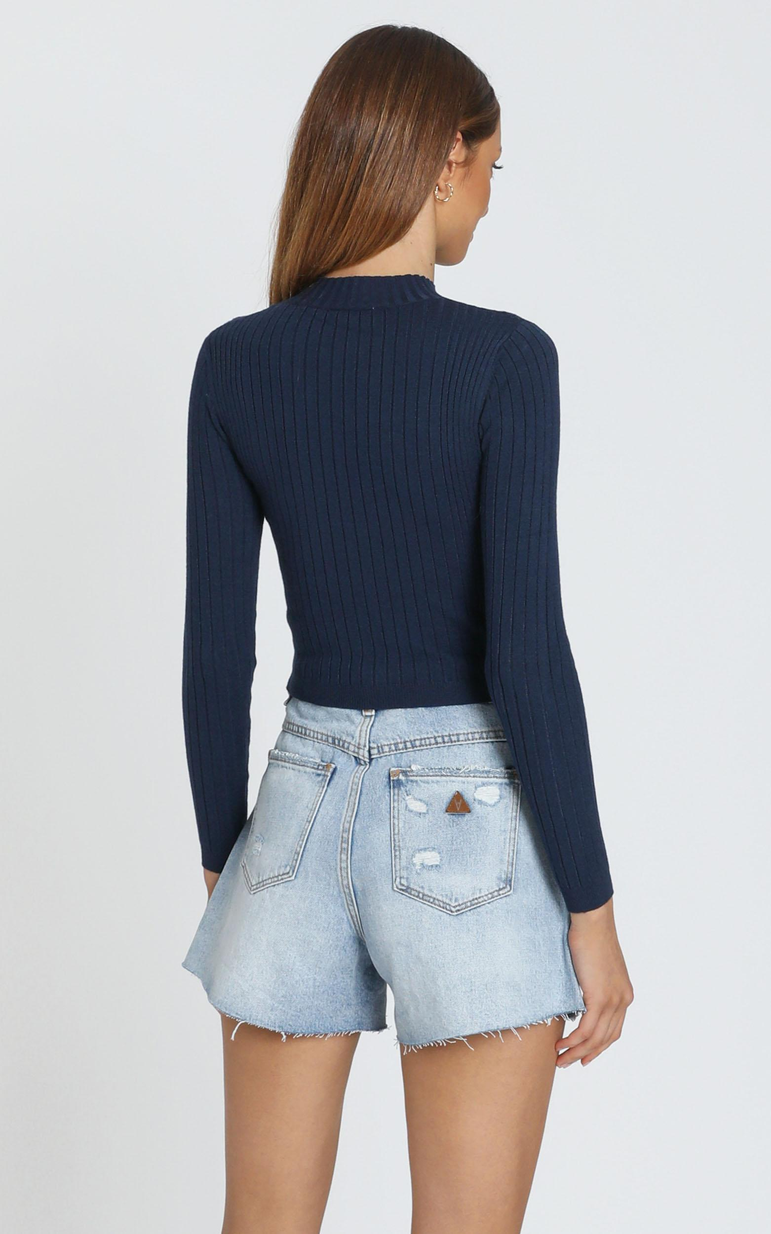 Downtown Dreams Knit Top in navy - 8 (S), Navy, hi-res image number null