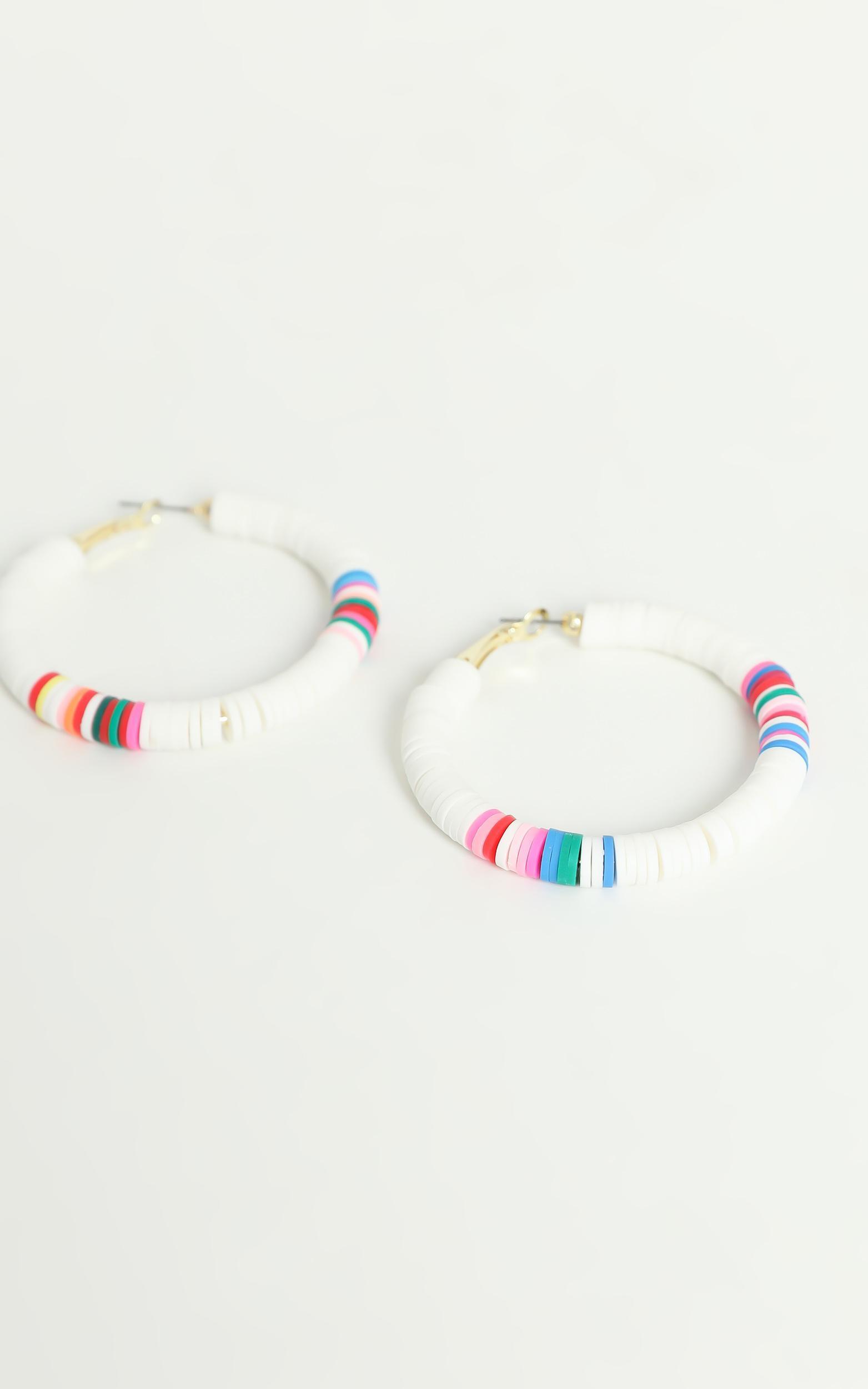 Quinnie Beaded Hoop Earrings in White, , hi-res image number null