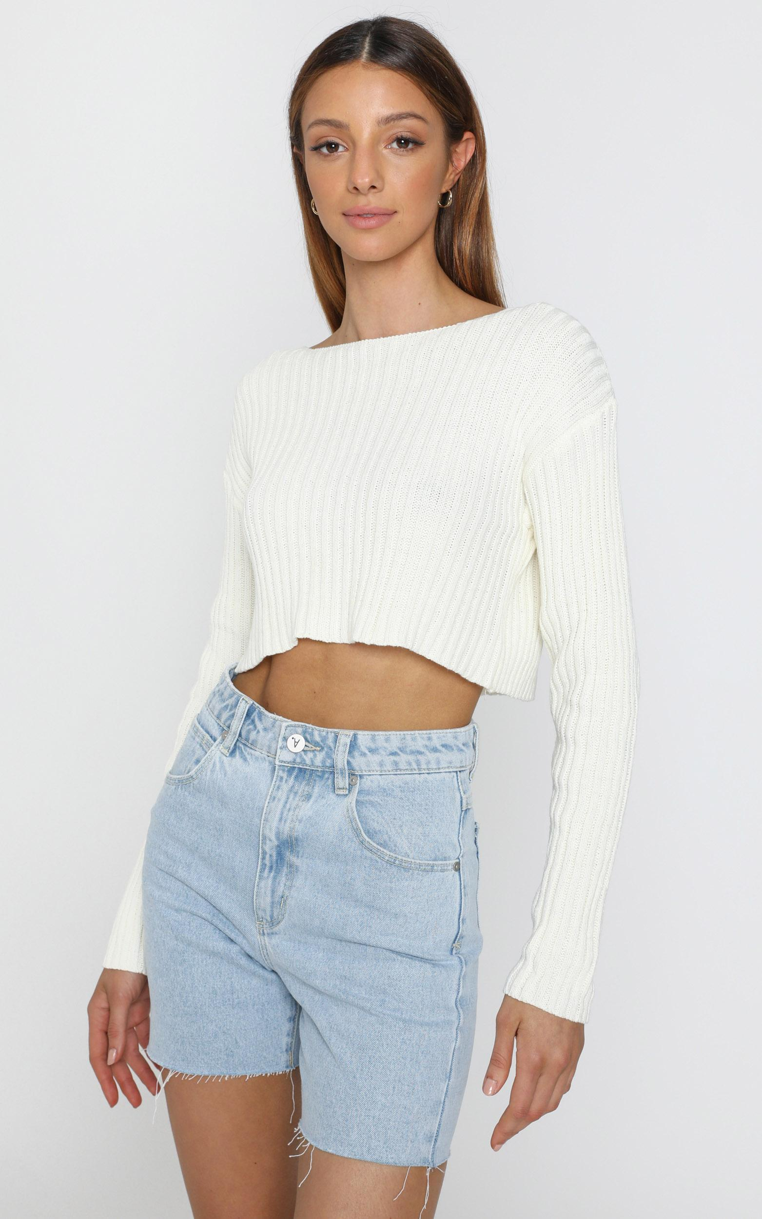 Born Influencer Ribbed Knit in Cream - S/M, CRE3, hi-res image number null