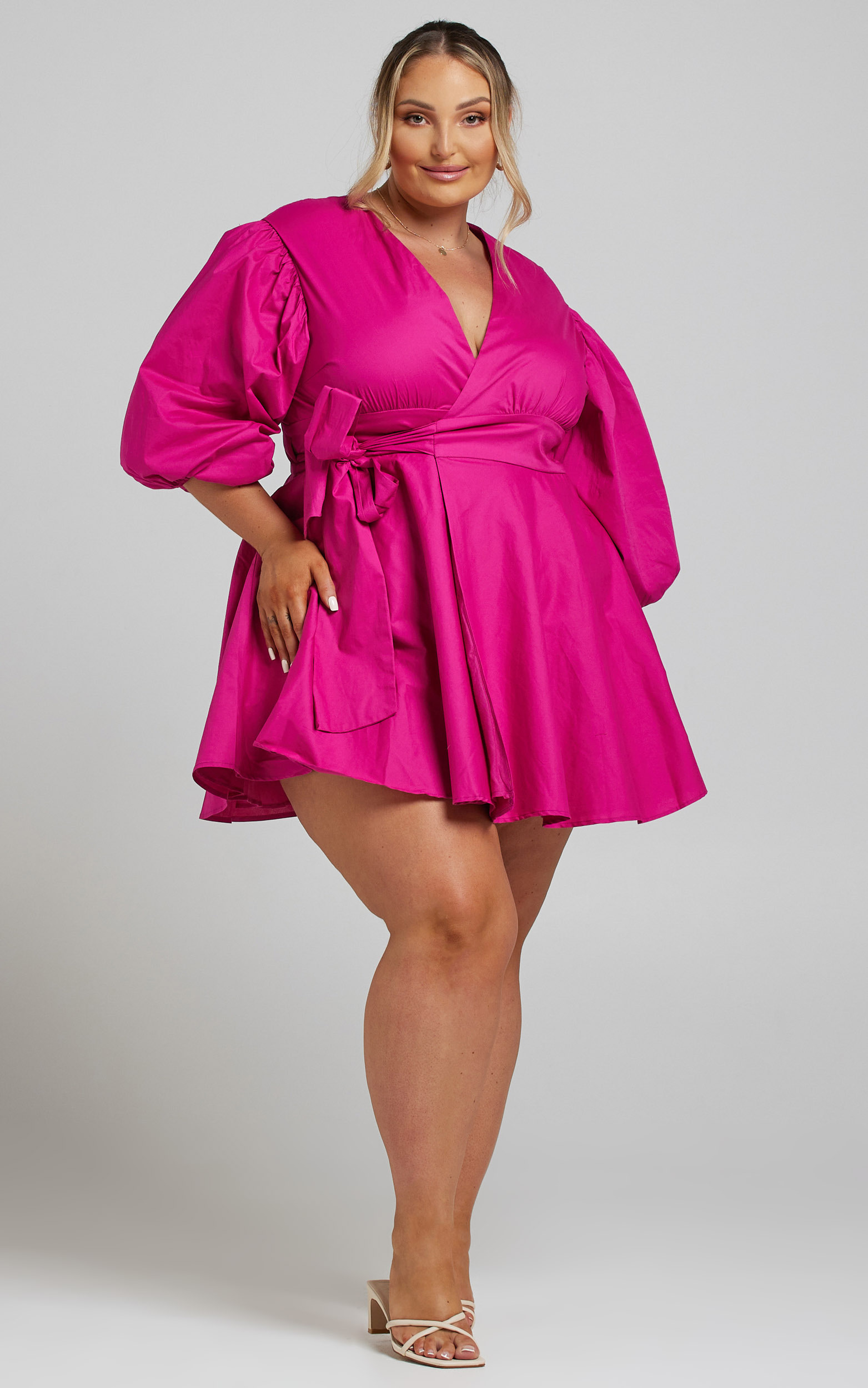 Zyla Puff Sleeve Wrap Mini Dress in Berry - 04, PNK6, hi-res image number null