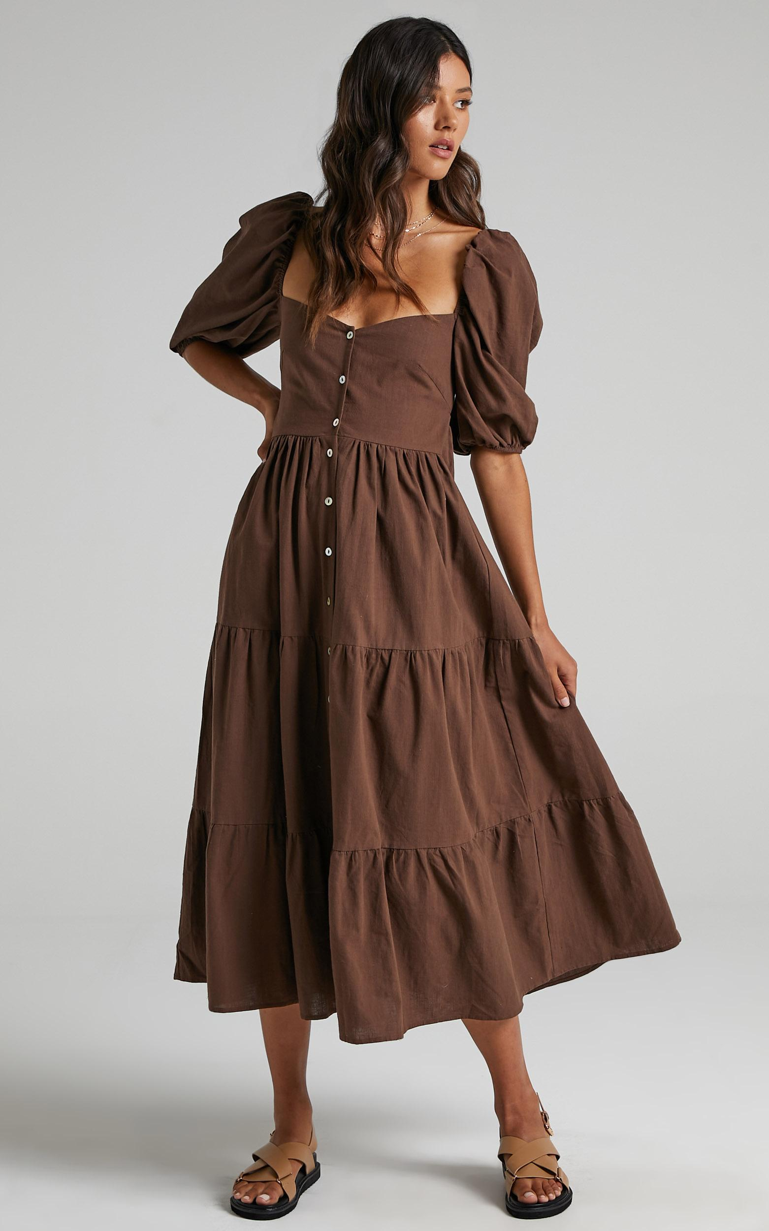 Palmer Dress in Chocolate - 6 (XS), Brown, hi-res image number null