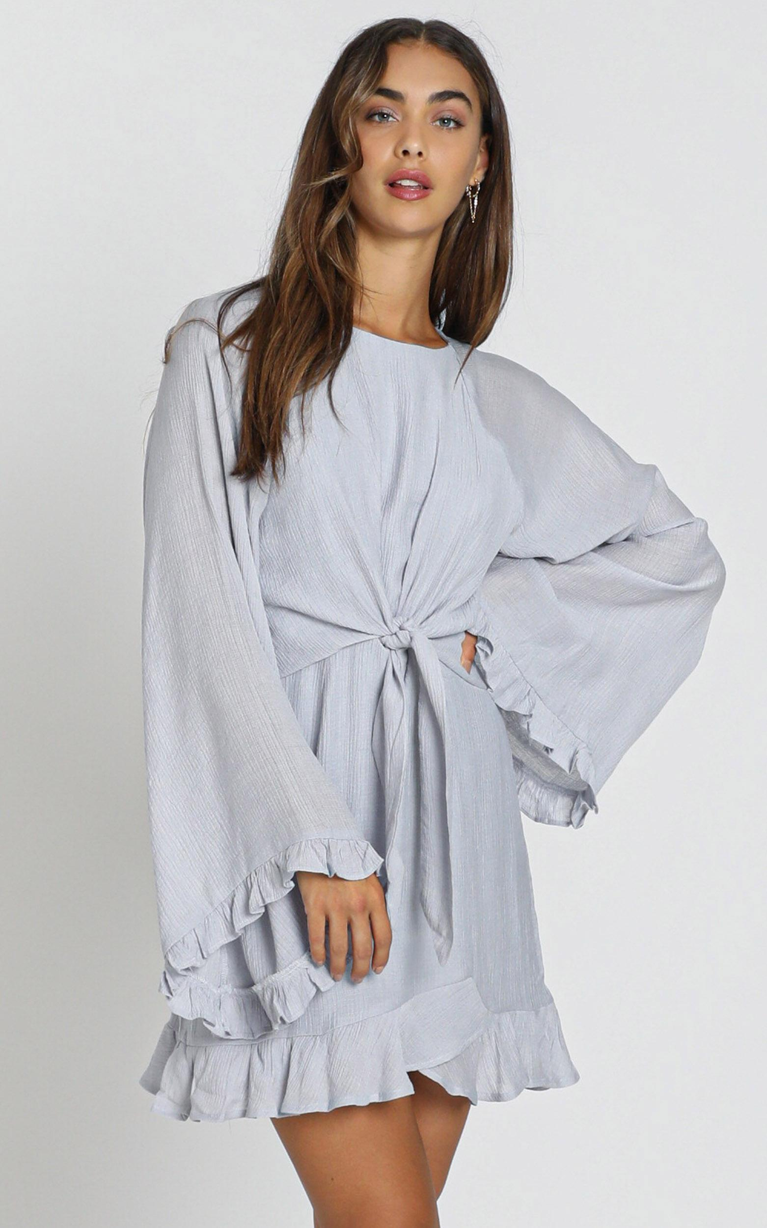 Ophelia Tie Front Dress in grey - 12 (L), Grey, hi-res image number null