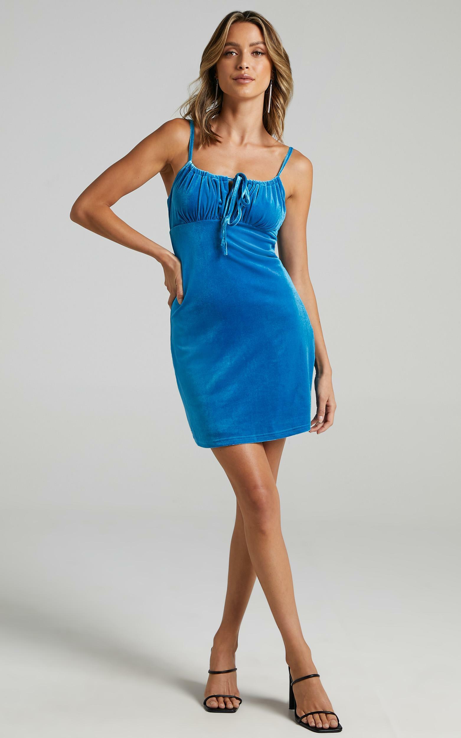 Ive Got You Now Dress in Cobalt Velvet - 06, BLU16, hi-res image number null