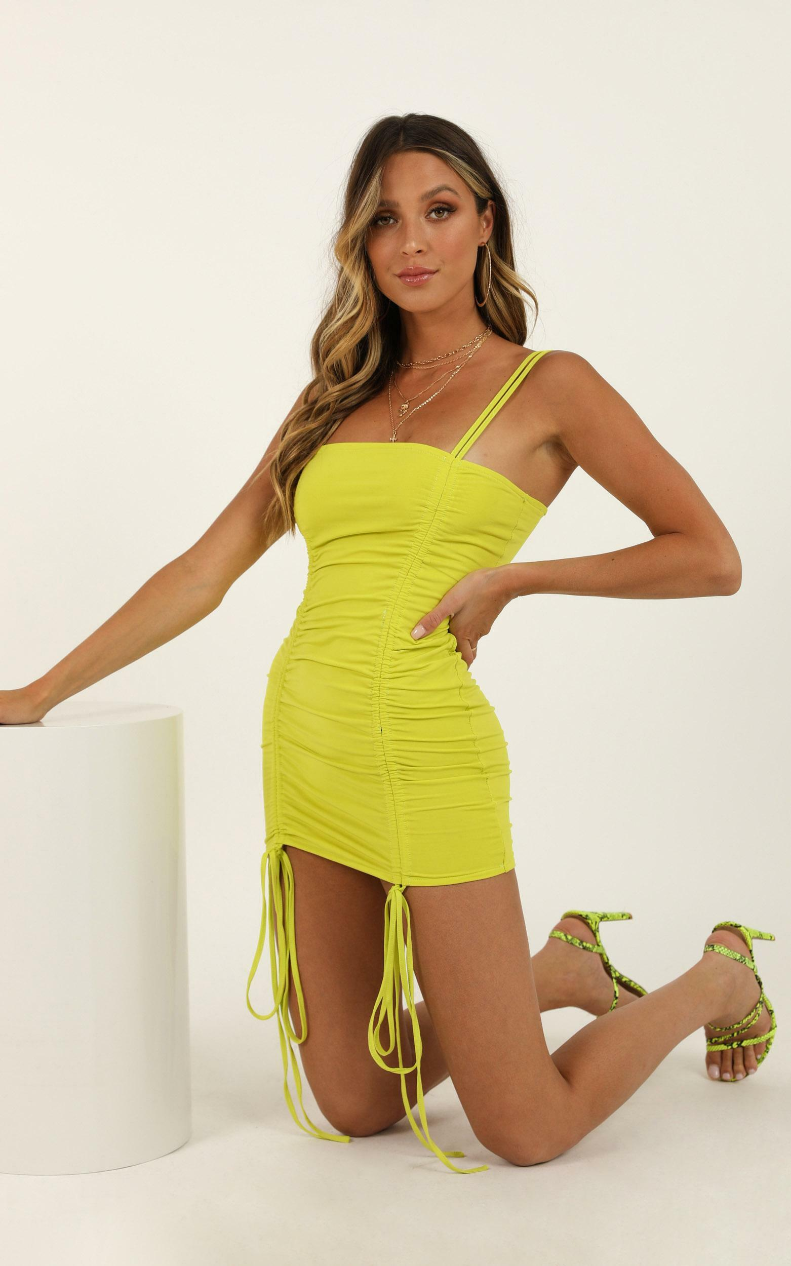 Stay All Night dress in lime - 16 (XXL), Yellow, hi-res image number null