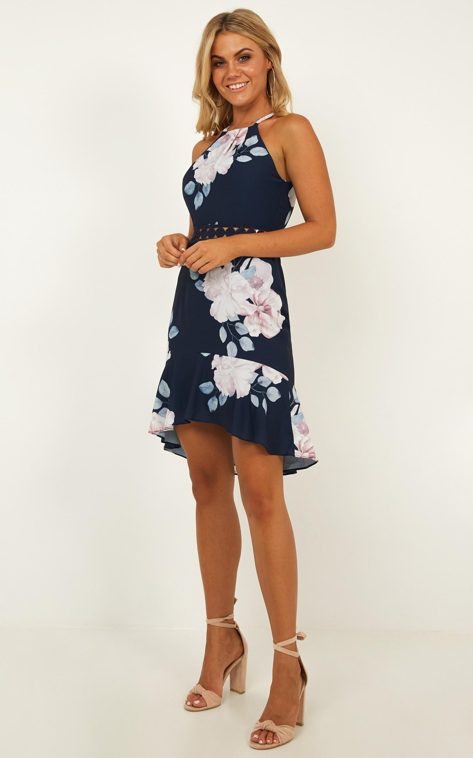 Blue Moon Dress in navy floral - 14 (XL), Navy, hi-res image number null