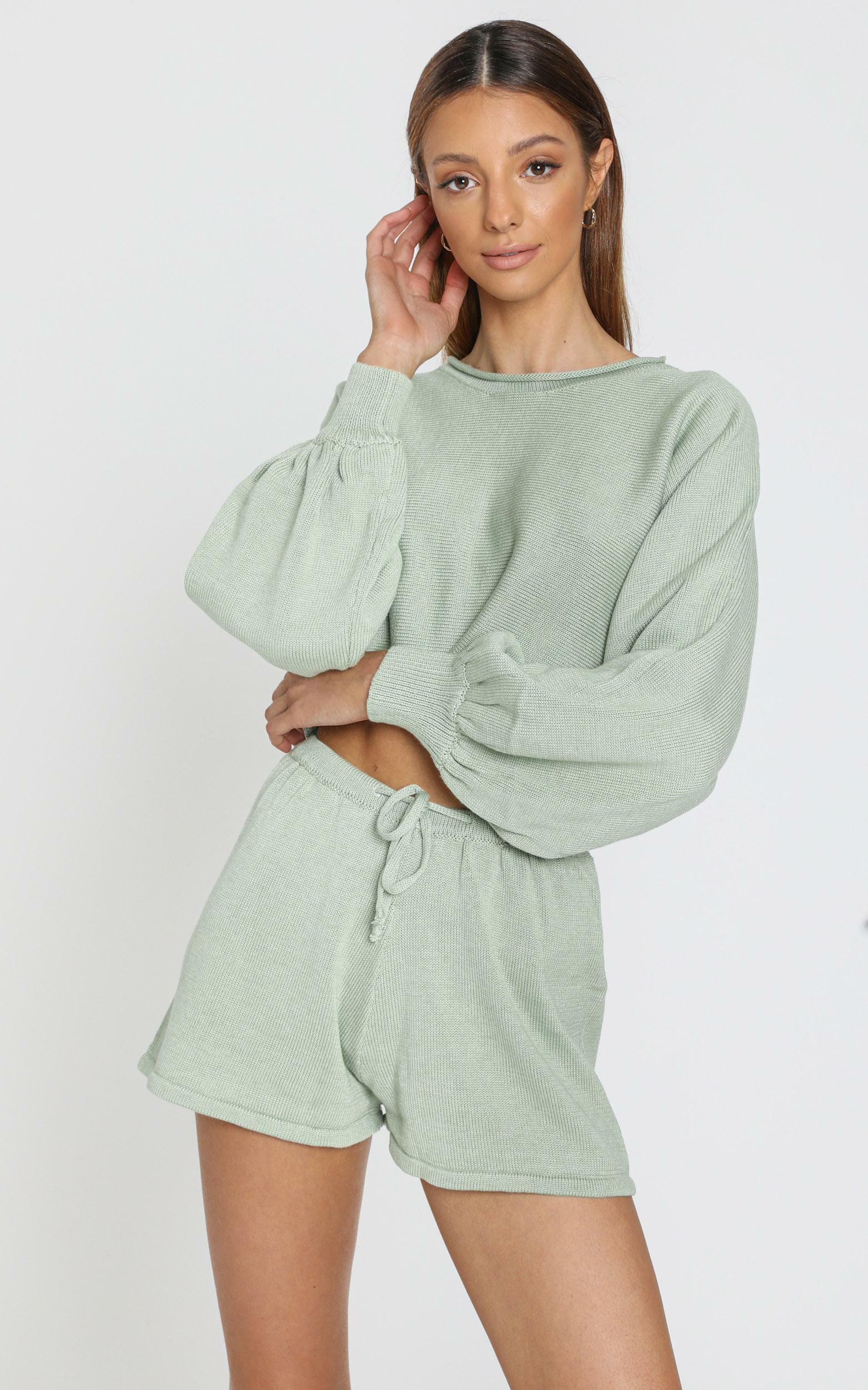 Hartley Knitted Shorts in Sage, Sage, hi-res image number null