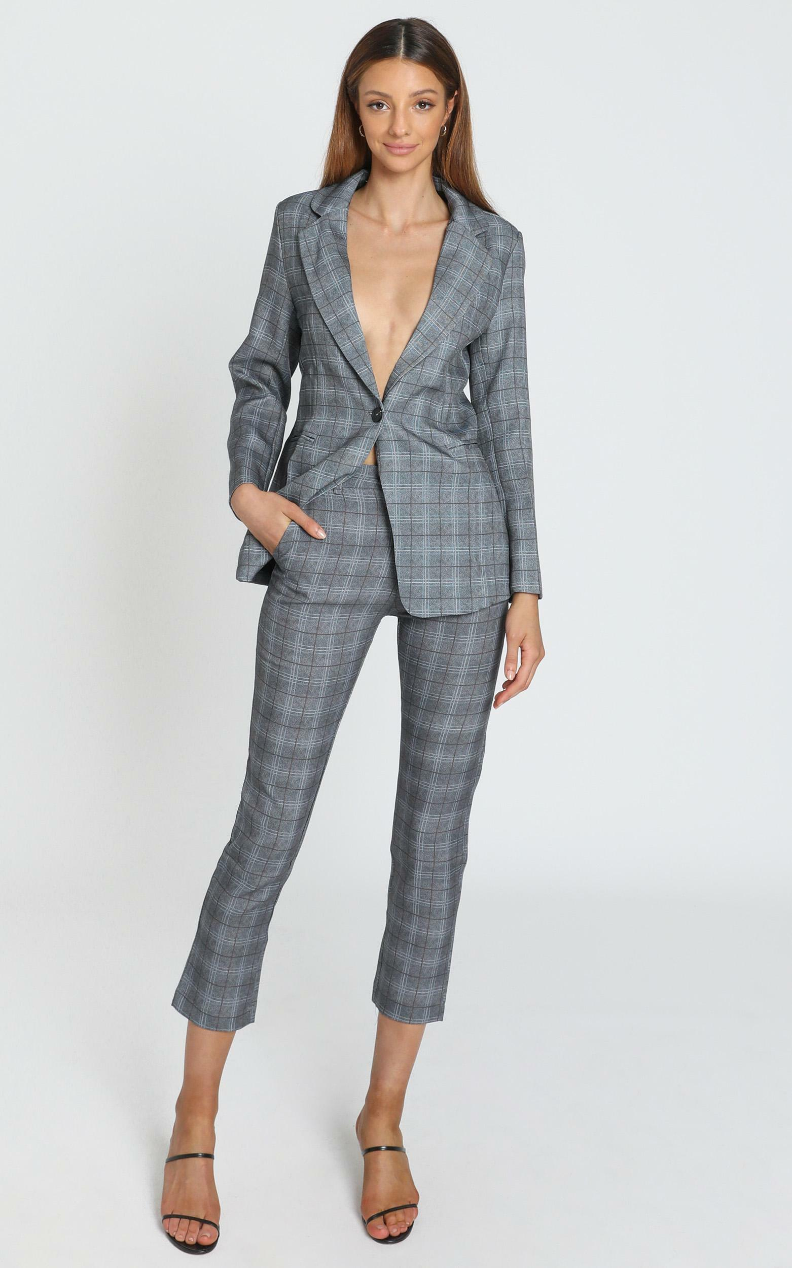 Christine Pants in Grey Check - 6 (XS), Grey, hi-res image number null