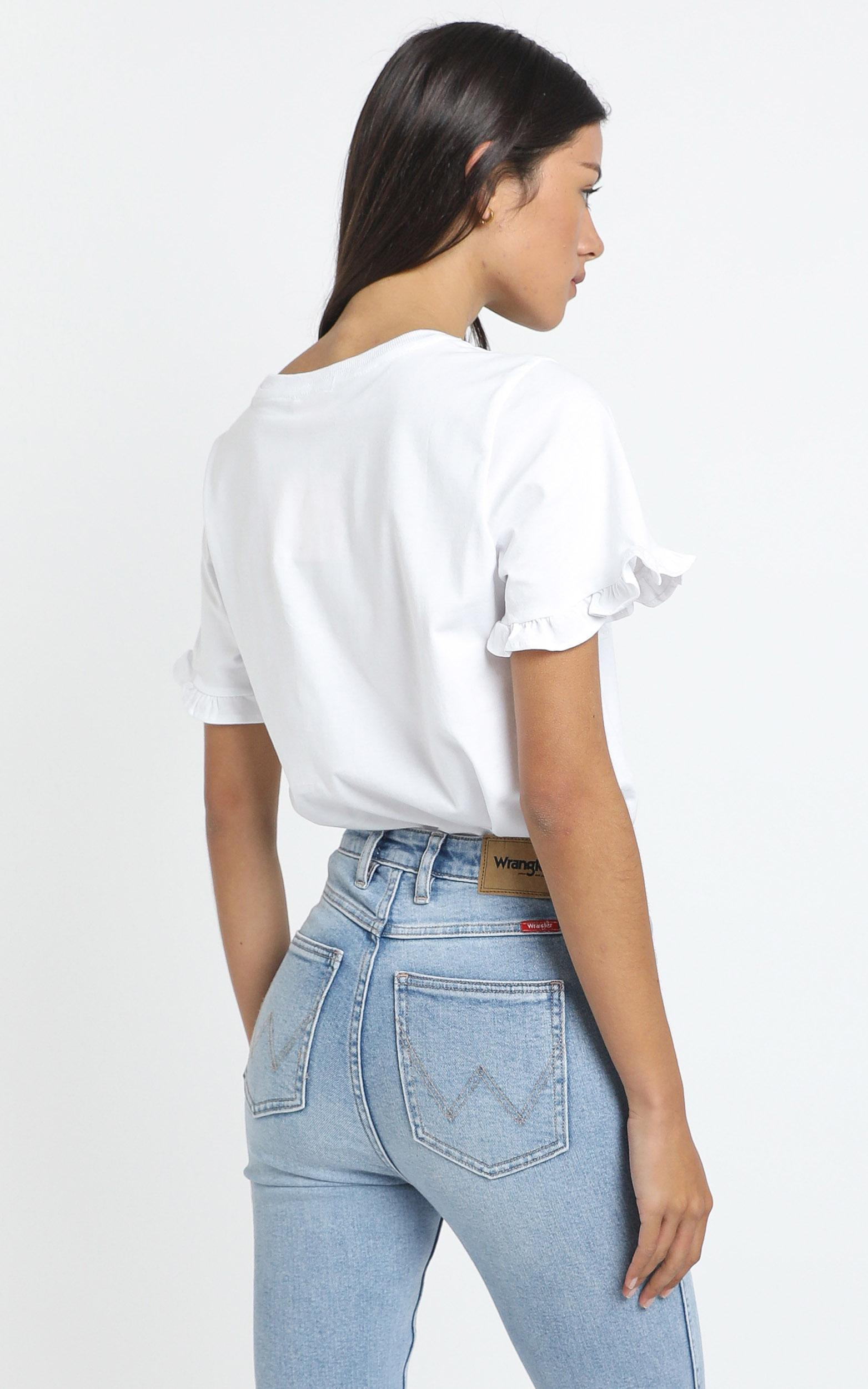 Closer To Home Ruffle Sleeve Tee in white - 4 (XXS), White, hi-res image number null