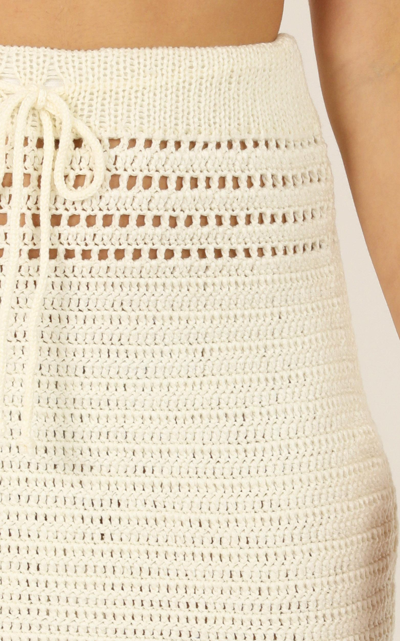 Whats Your Sign Skirt in white crochet - 8 (S), White, hi-res image number null
