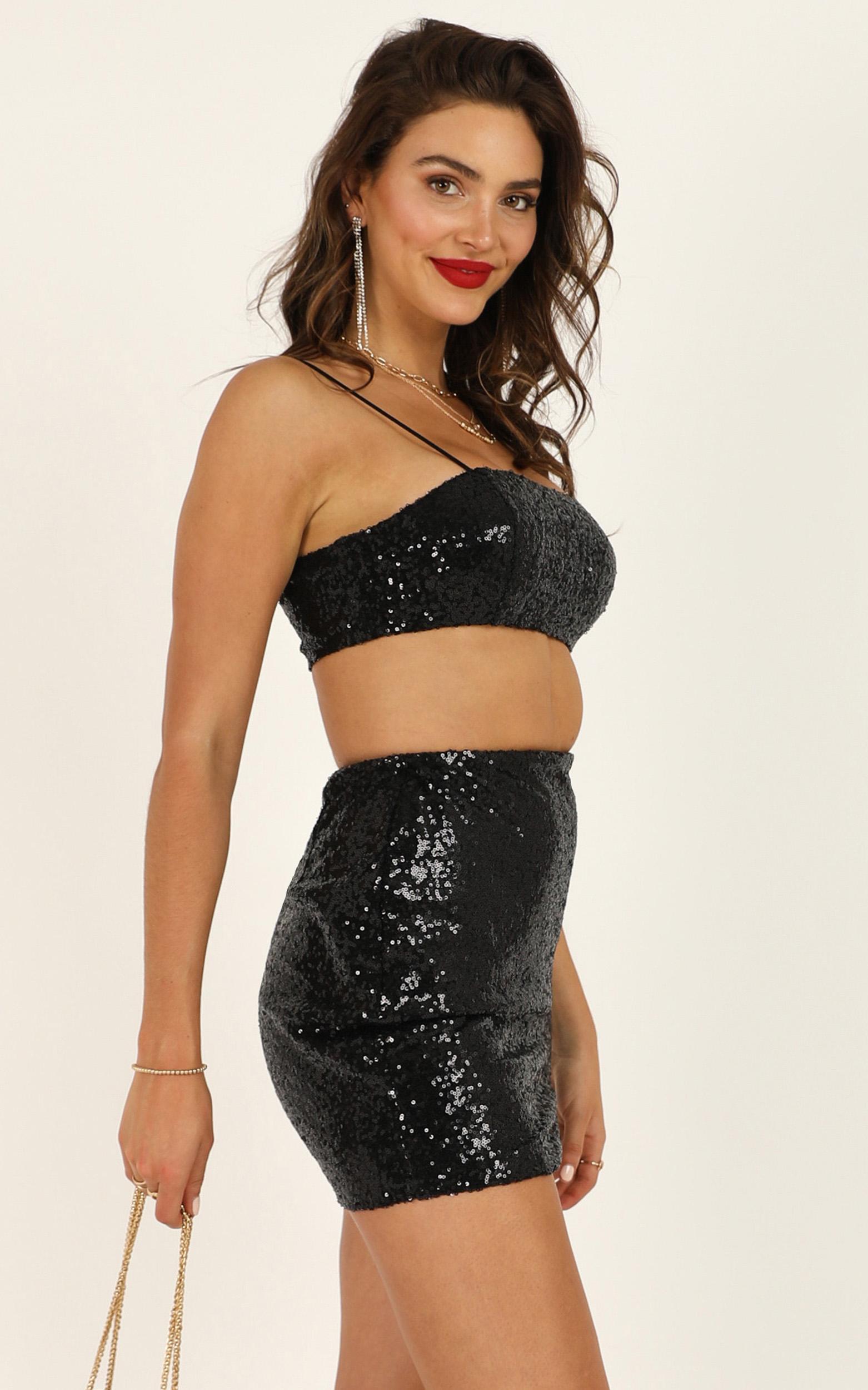 No Invite Necessary Top in black sequin - 14 (XL), Black, hi-res image number null