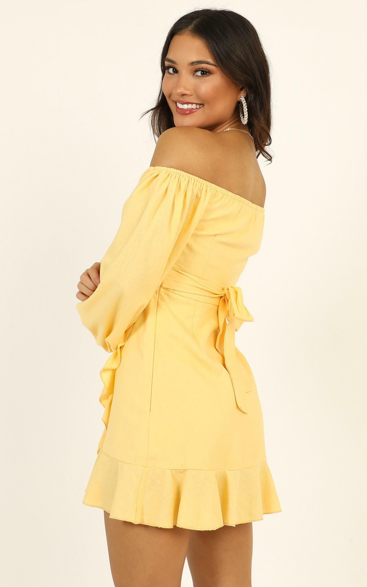 Cant Move On Dress in lemon linen look - 14 (XL), Yellow, hi-res image number null