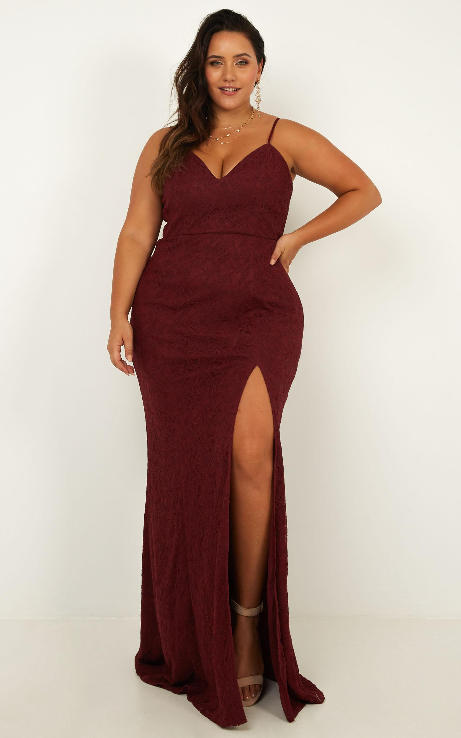 Always Extra Dress In wine lace - 20 (XXXXL), Wine, hi-res image number null