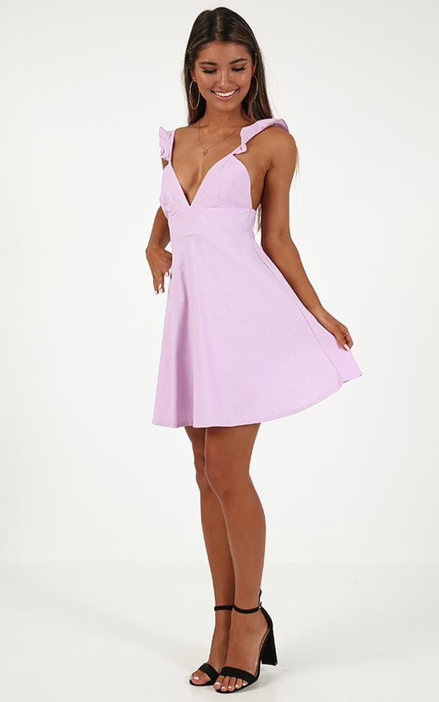 Inside Out Dress in lilac linen look - 12 (L), Purple, hi-res image number null