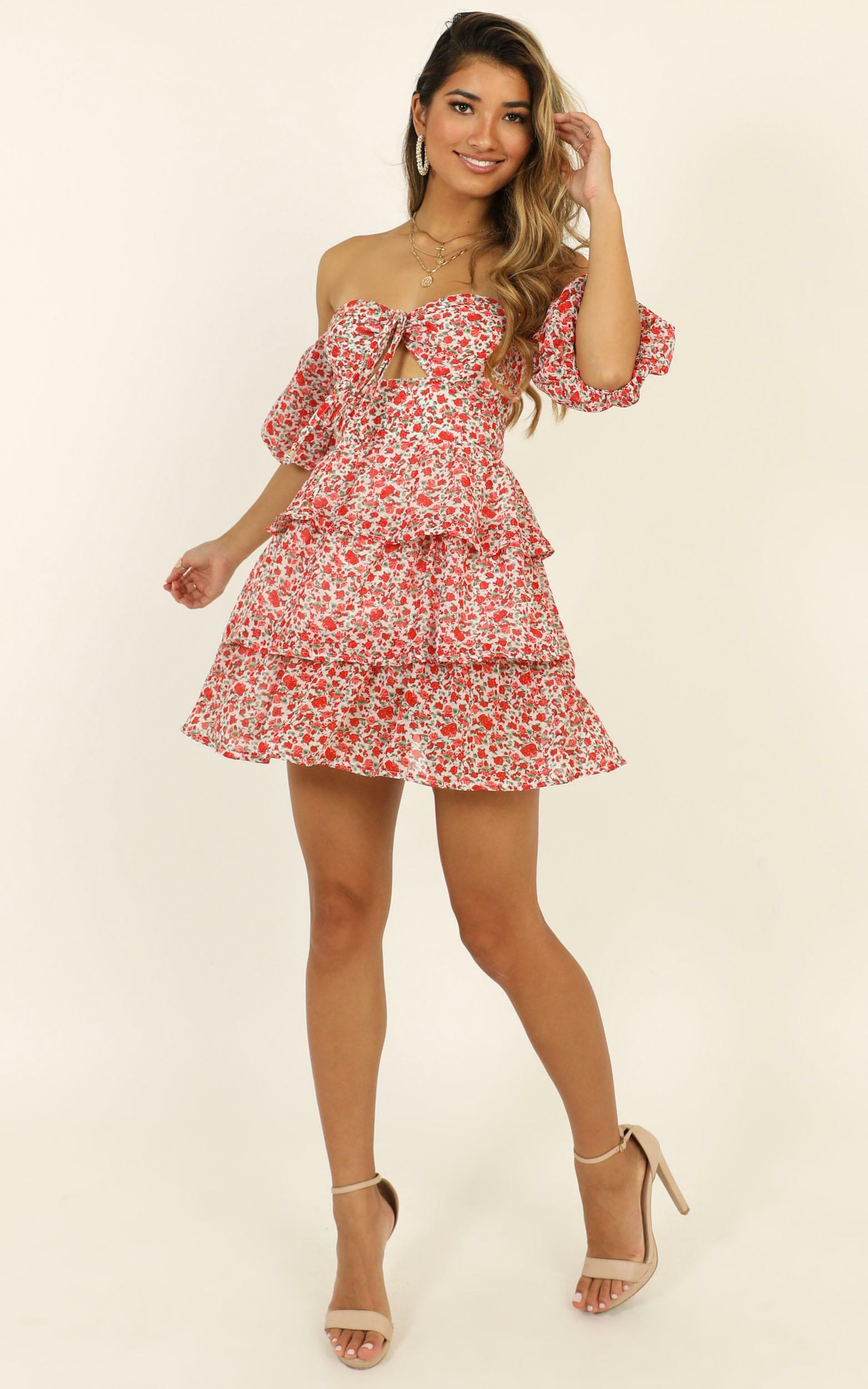 Call On Me Dress in red floral - 14 (XL), Red, hi-res image number null