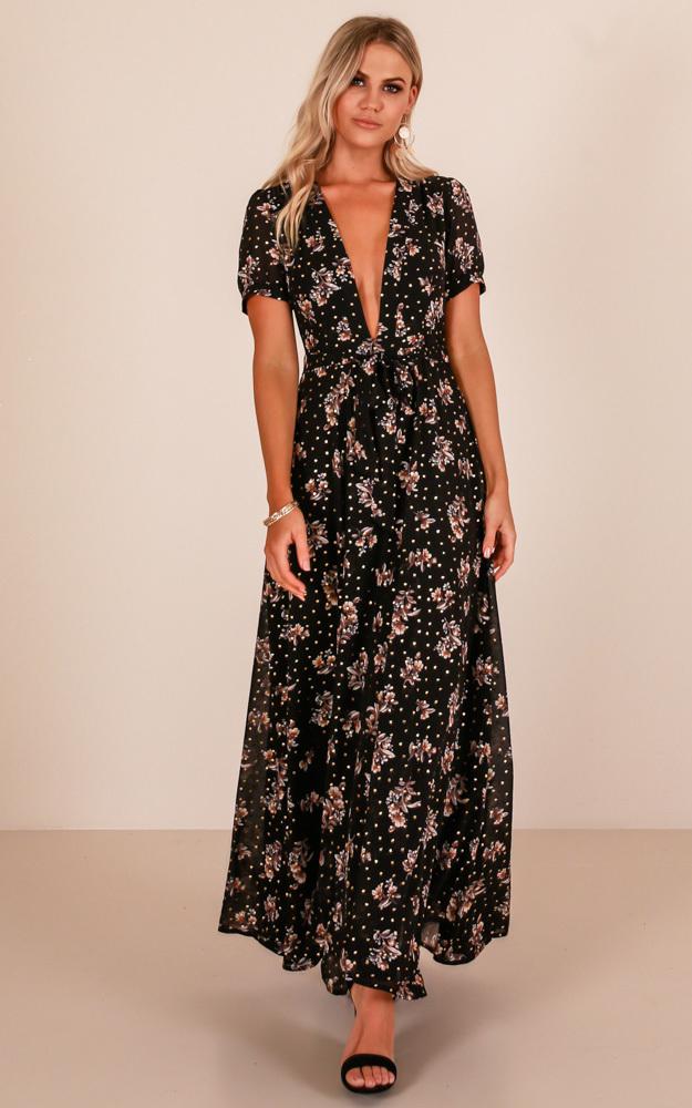 Attention Seeker maxi dress in black floral - 12 (L), Black, hi-res image number null