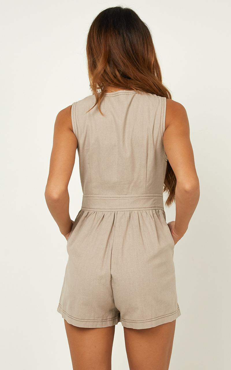 Arrive On Time Playsuit in mocha linen look - 16 (XXL), Mocha, hi-res image number null