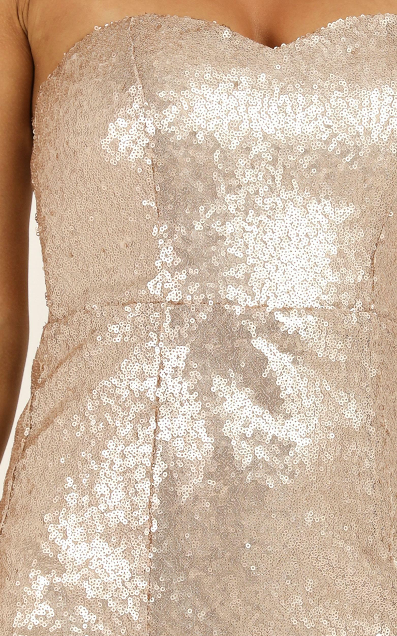 Shimmer Shimmer Dress in champagne sequin - 18 (XXXL), Beige, hi-res image number null