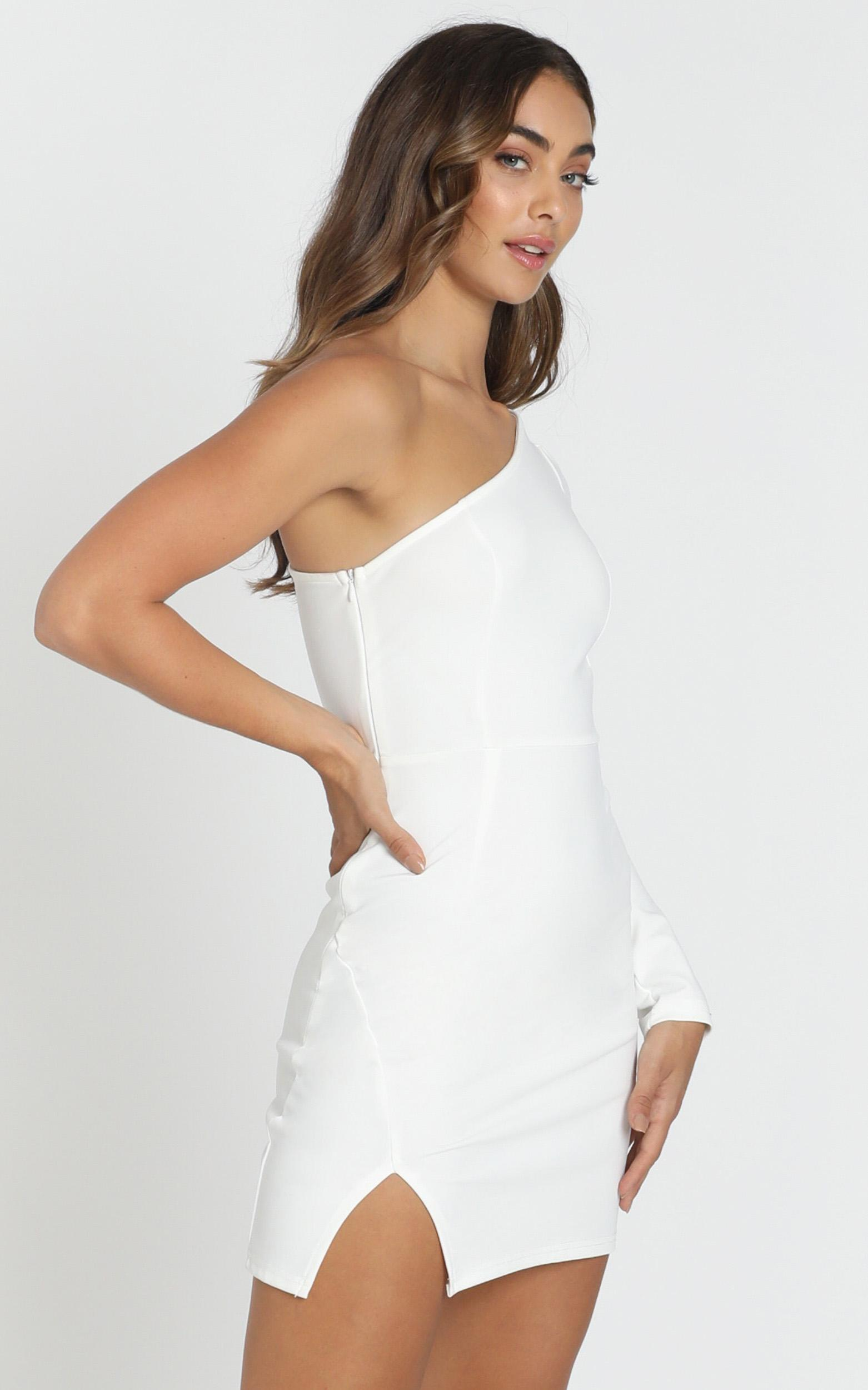 Kassie One Shoulder Mini Dress in white - 6 (XS), White, hi-res image number null