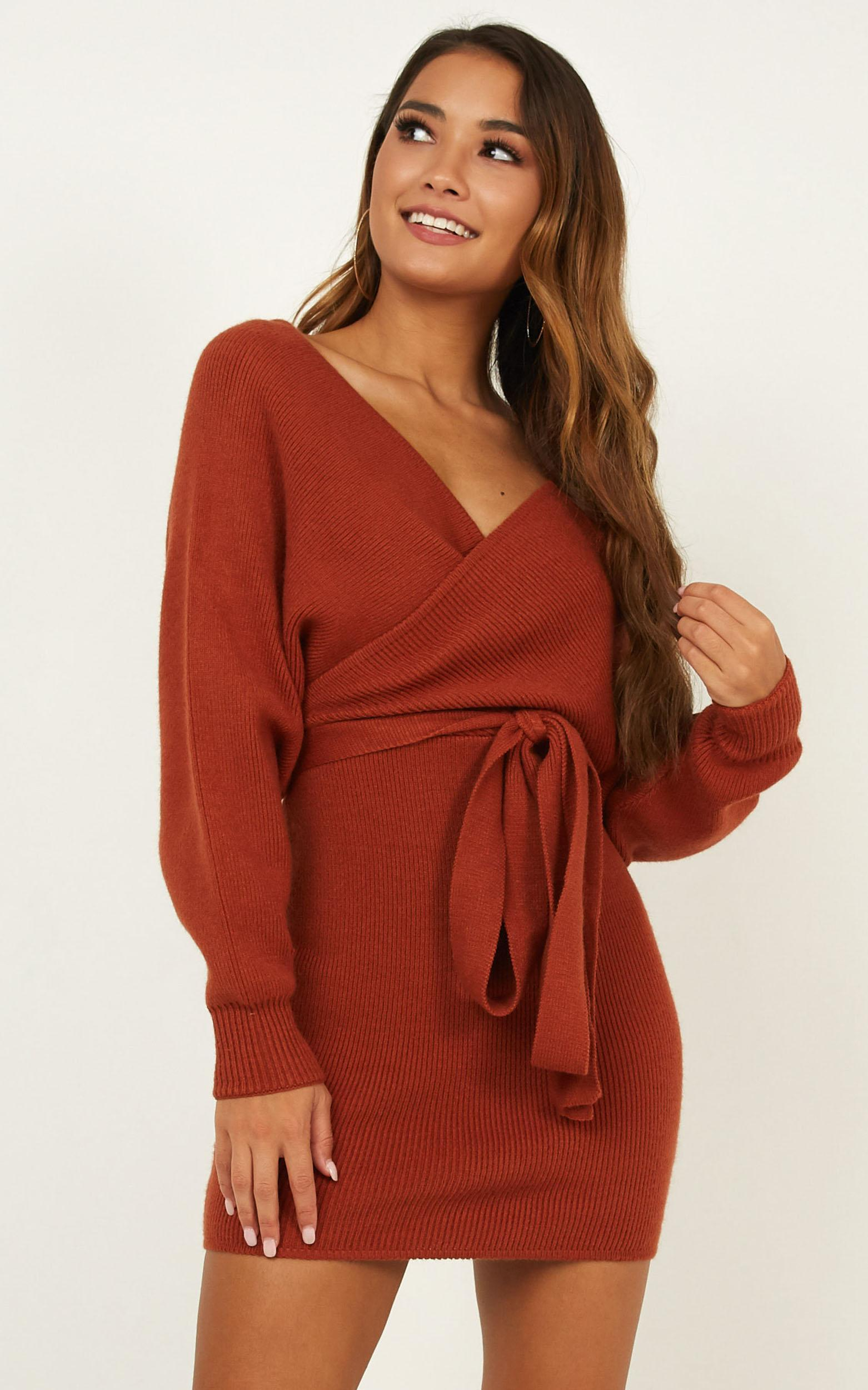 Dont Fall down knit dress in rust - 6 (XS), Rust, hi-res image number null