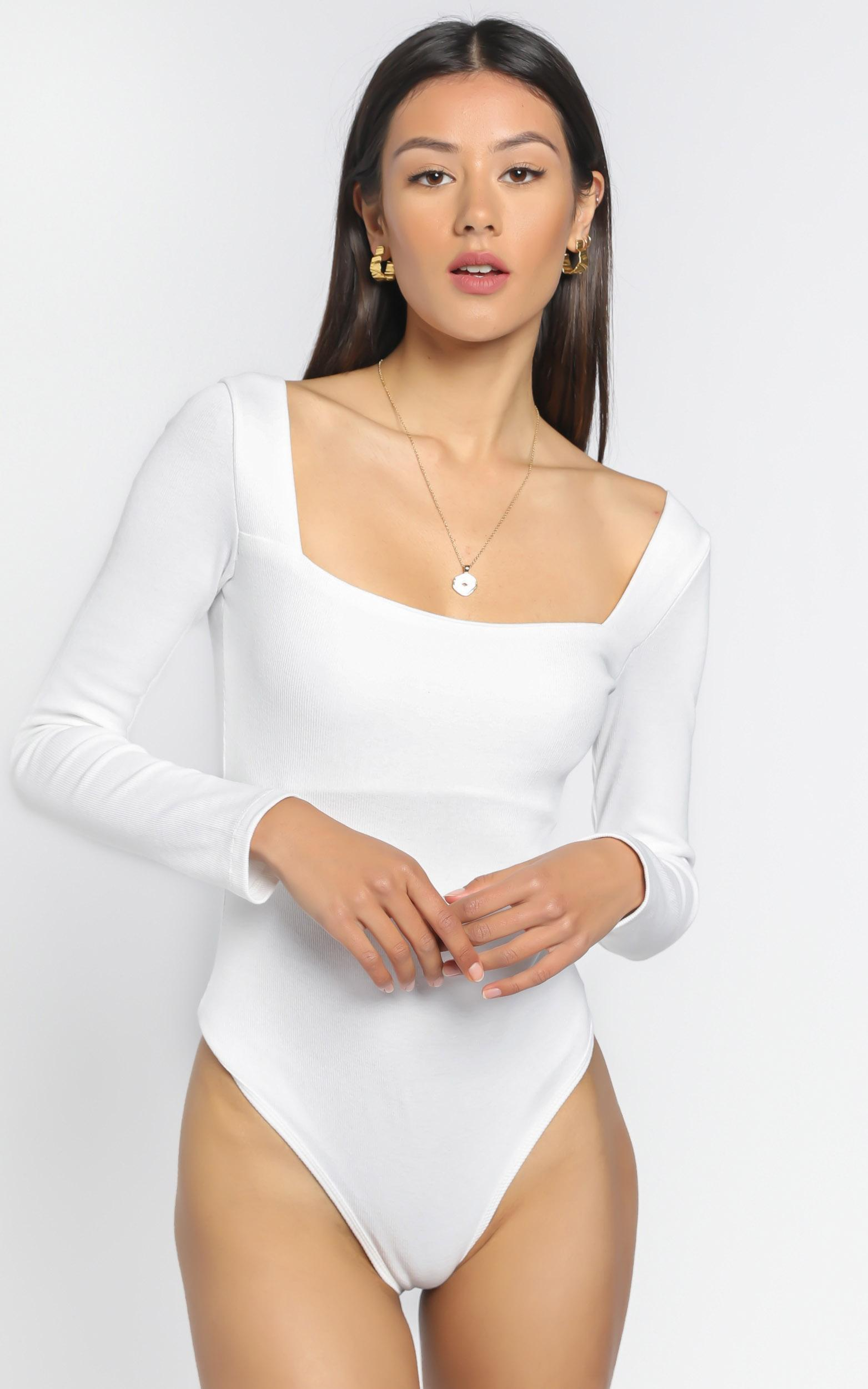 Right Kind Of Love Bodysuit In White - 4 (XXS), White, hi-res image number null