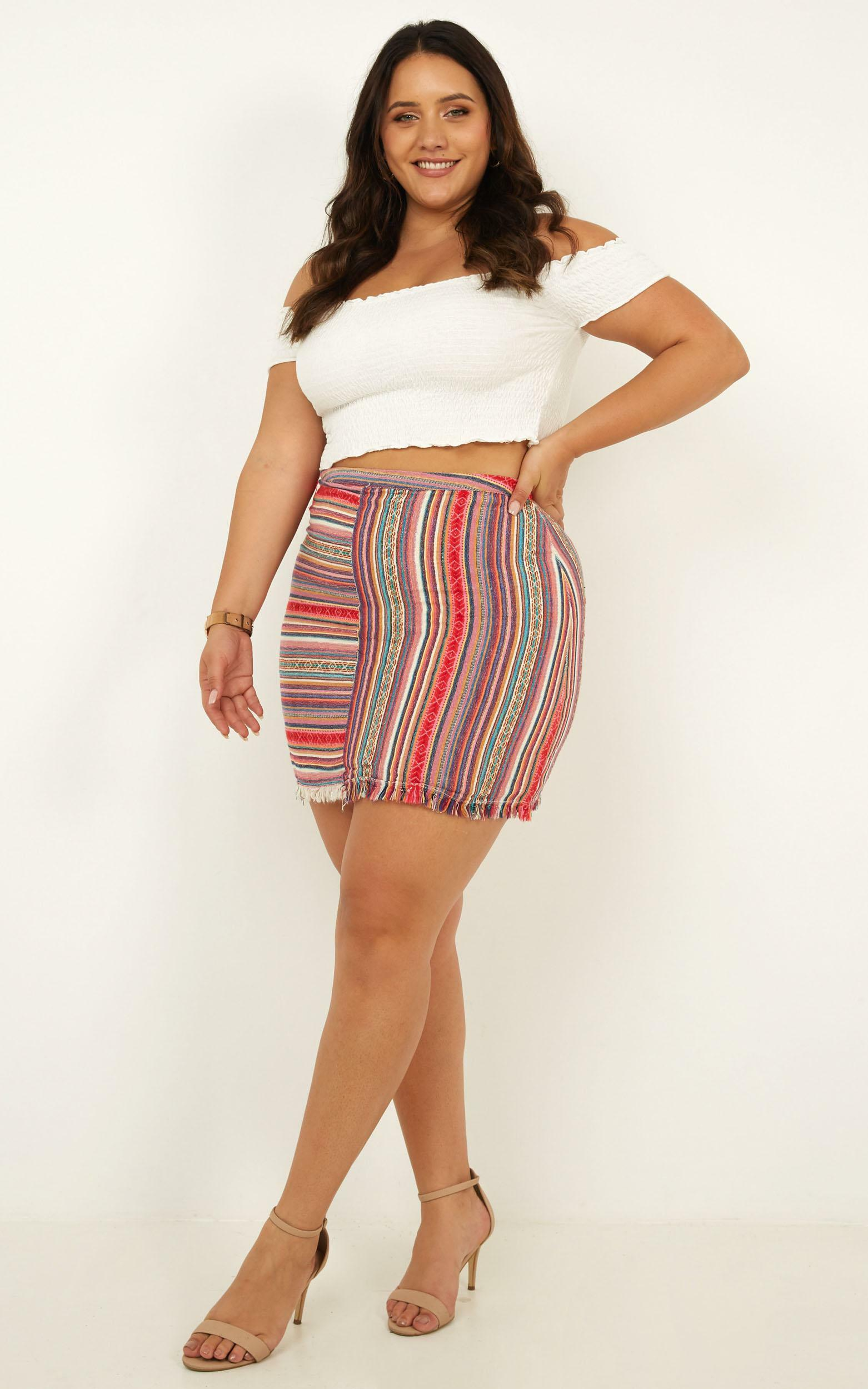 Spice Your Life Skirt In Pink Print - 4 (XXS), Blue, hi-res image number null