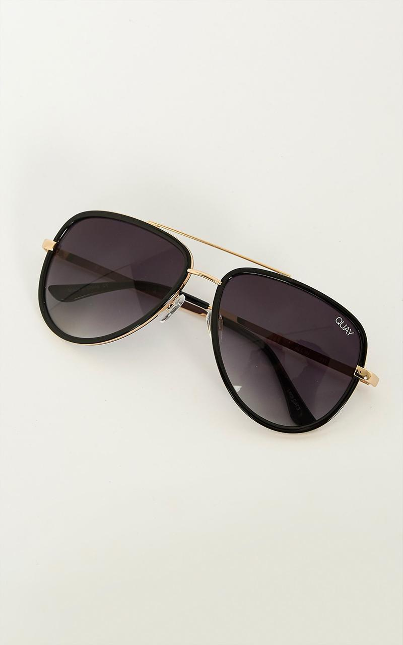 Quay - All In sunglasses in black and gold, , hi-res image number null