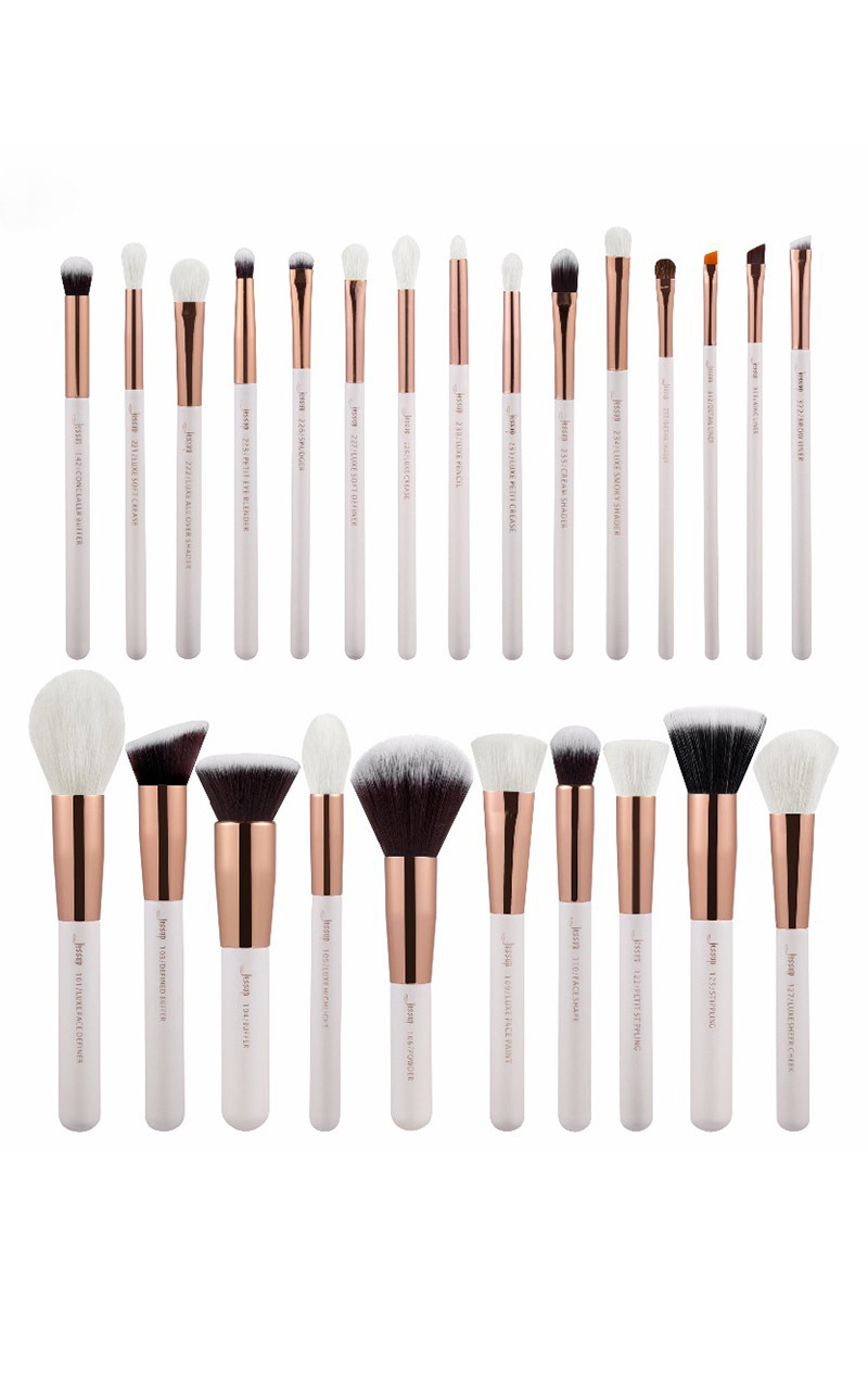 Makeup brush set in white and rose gold - 25 pc, White, hi-res image number null