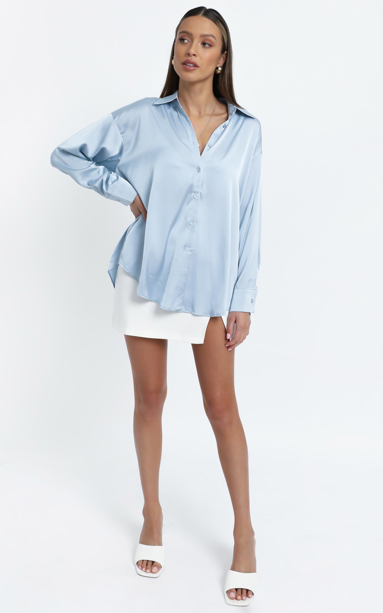 Desiree Shirt in Light Blue Satin - 12 (L), Blue, hi-res image number null