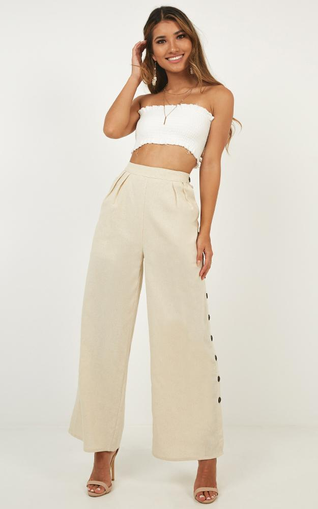 Button Me Up Pants in natural linen look - 12 (L), Beige, hi-res image number null
