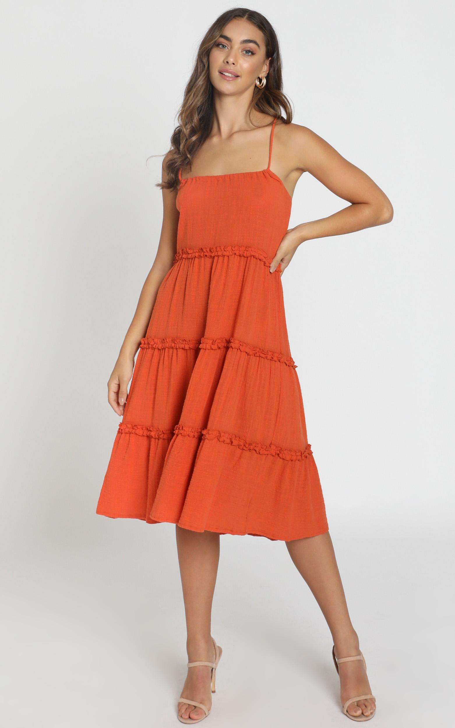 Nadia Tiered Smock Dress in rust - 6 (XS), Rust, hi-res image number null