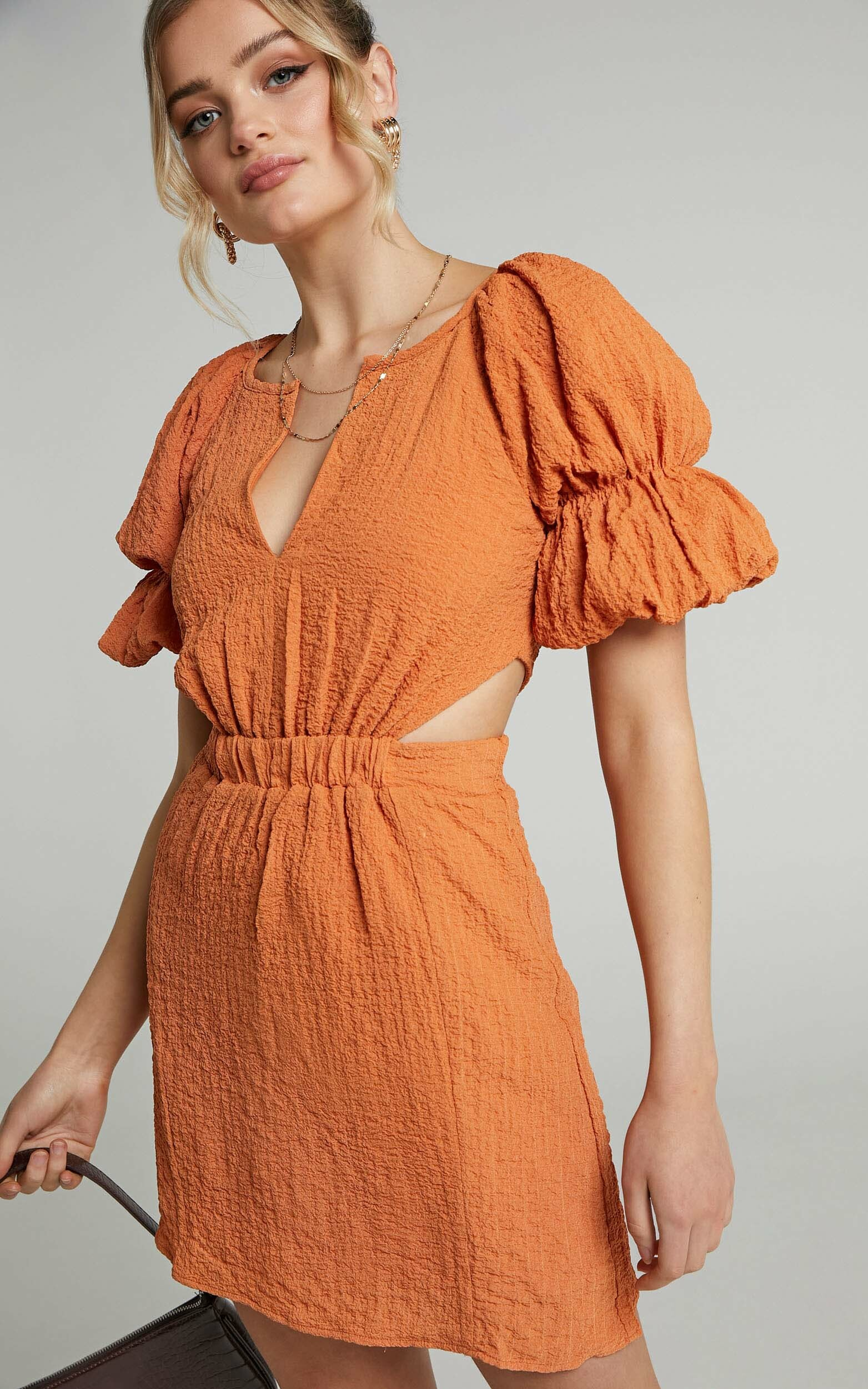 Robina Puff Sleeve Cut Out Mini Dress in Burnt Orange - 06, ORG1, hi-res image number null