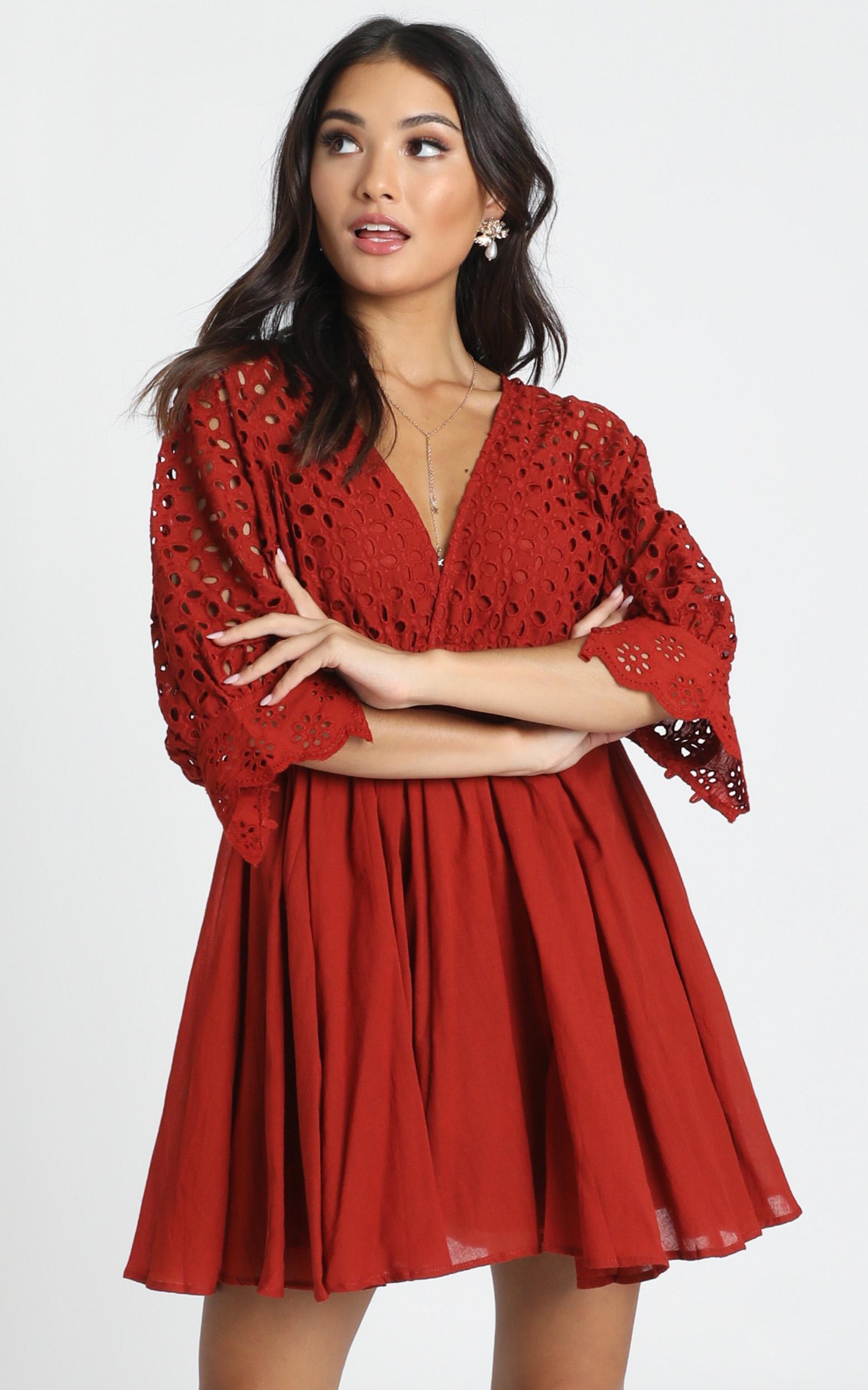 Jacinta V-Neck Embroided Mini Dress in rust - 12 (L), Rust, hi-res image number null