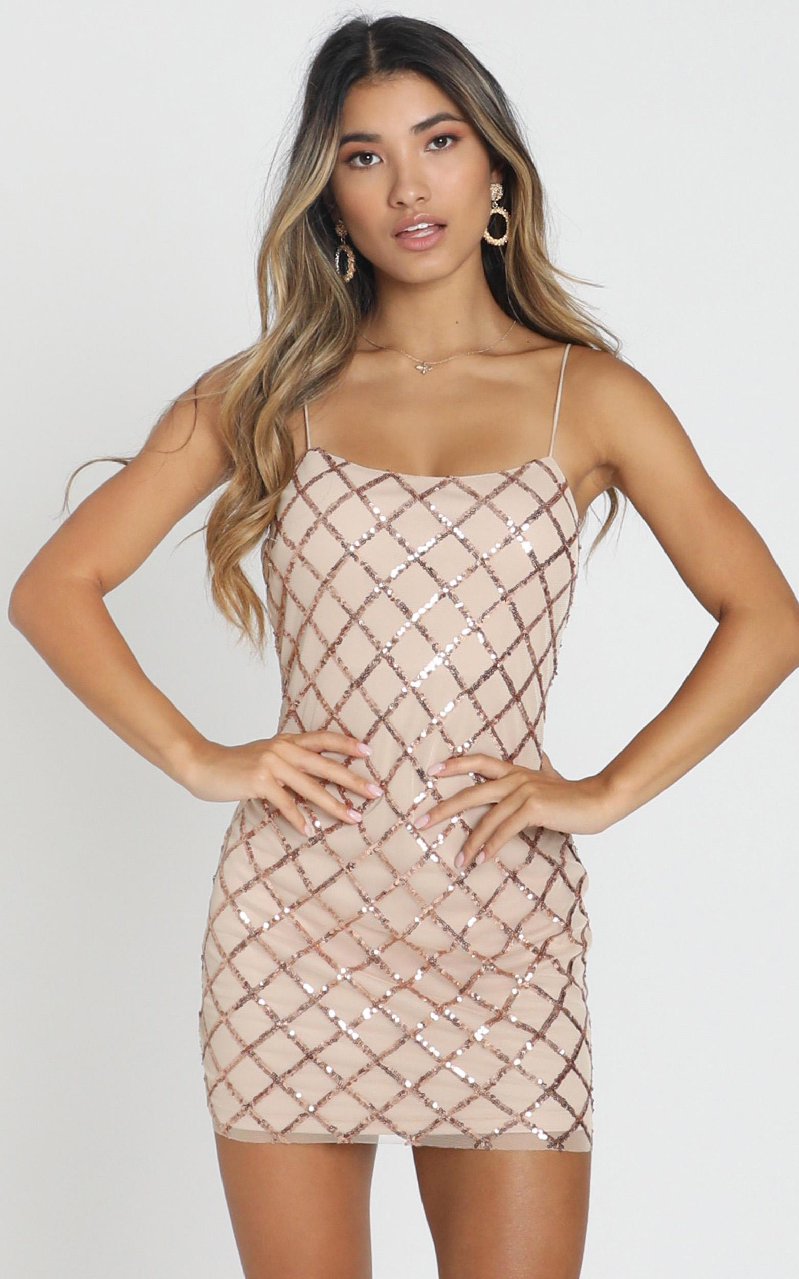 Rhythm Of Love Dress In Rose Gold Sequin - 16 (XXL), Rose Gold, hi-res image number null