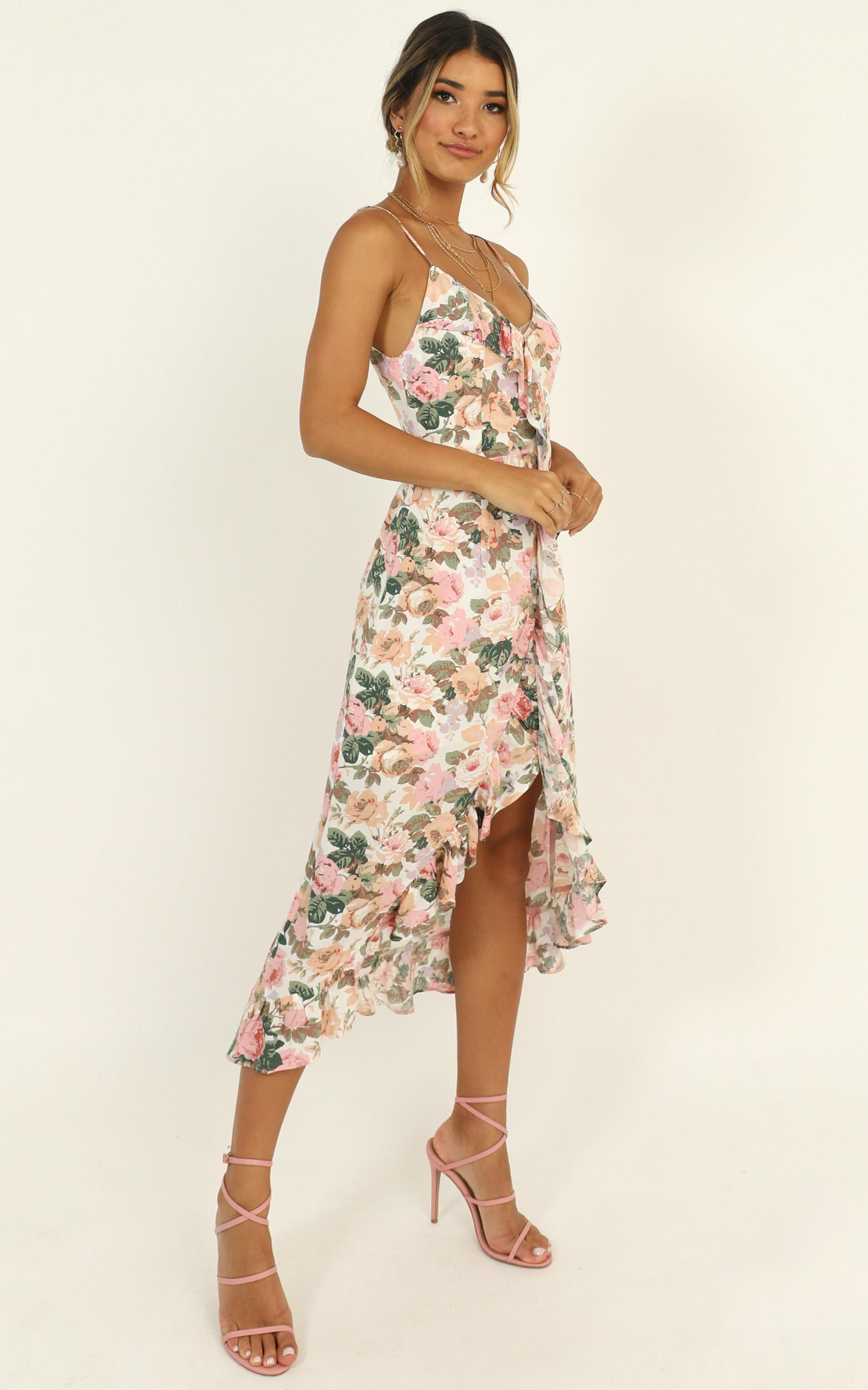 Kiss Me Now Dress in rose floral - 14 (XL), Pink, hi-res image number null