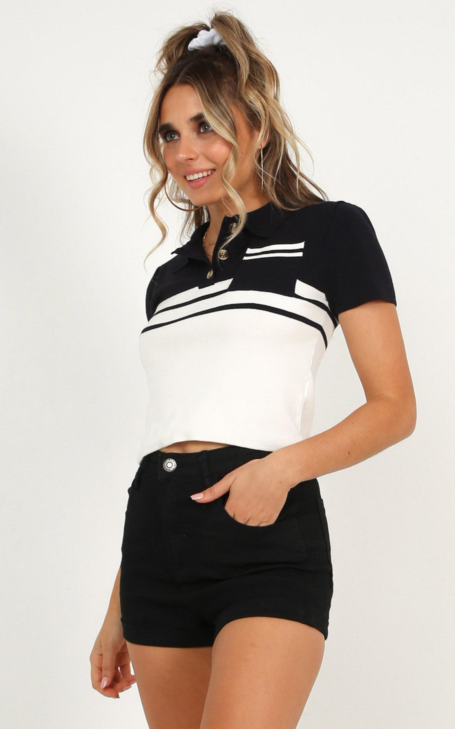 Fame Or Freedom top in navy stripe - 12 (L), Navy, hi-res image number null