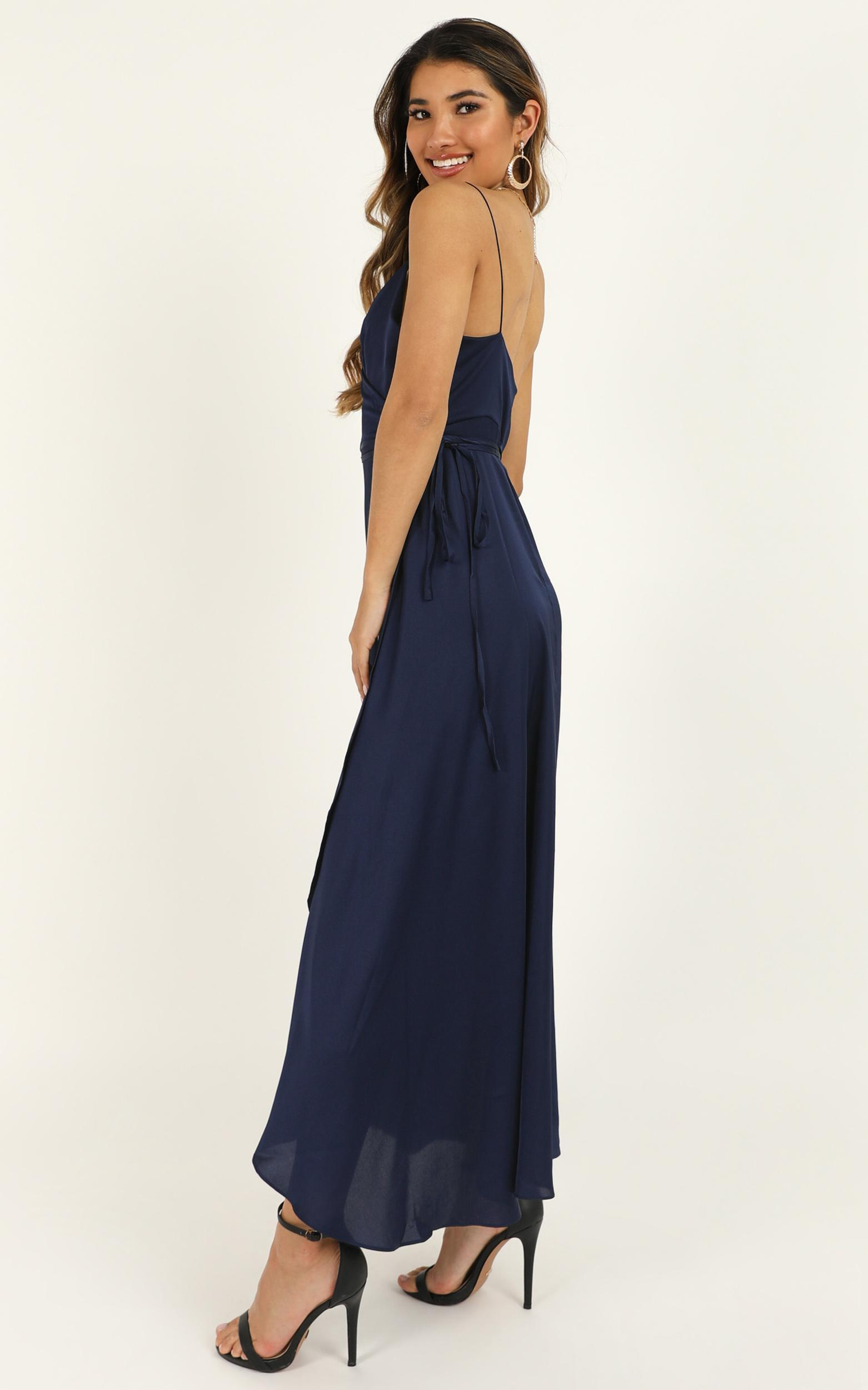 The Countess dress in midnight blue satin - 8 (S), Navy, hi-res image number null